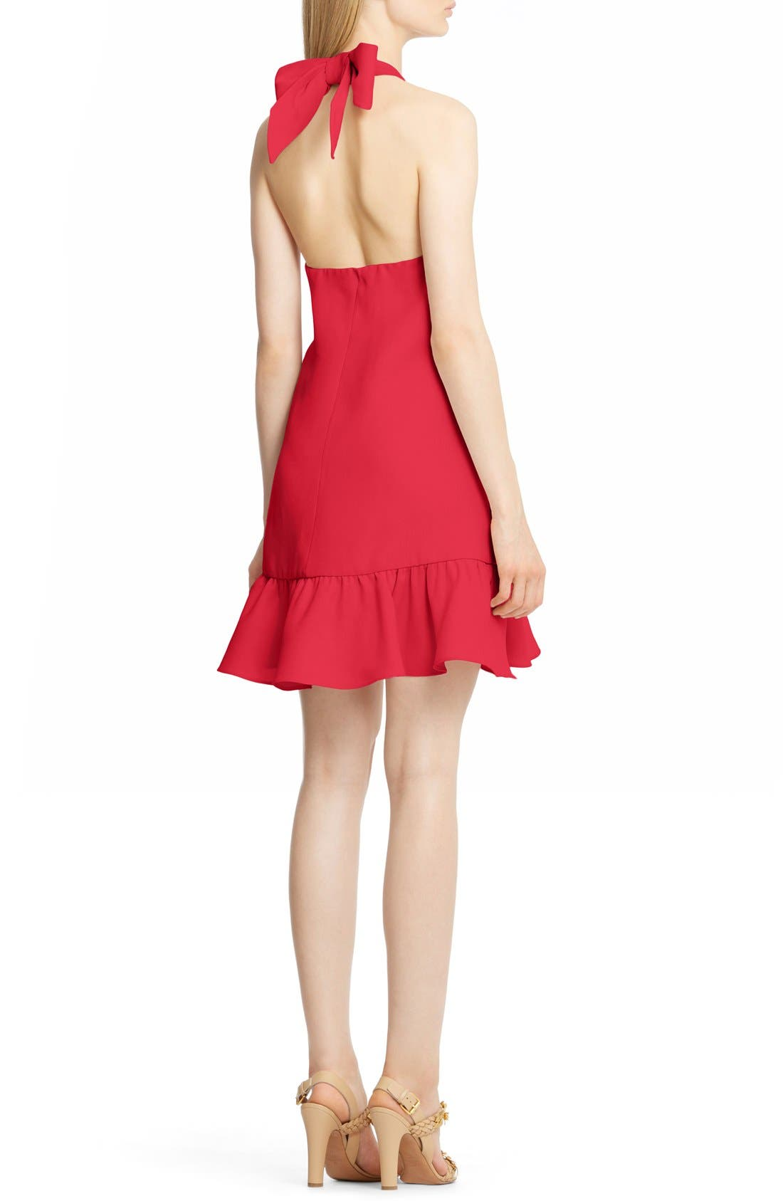 Flutter Hem Silk Halter Dress,                             Alternate thumbnail 2, color,                             610