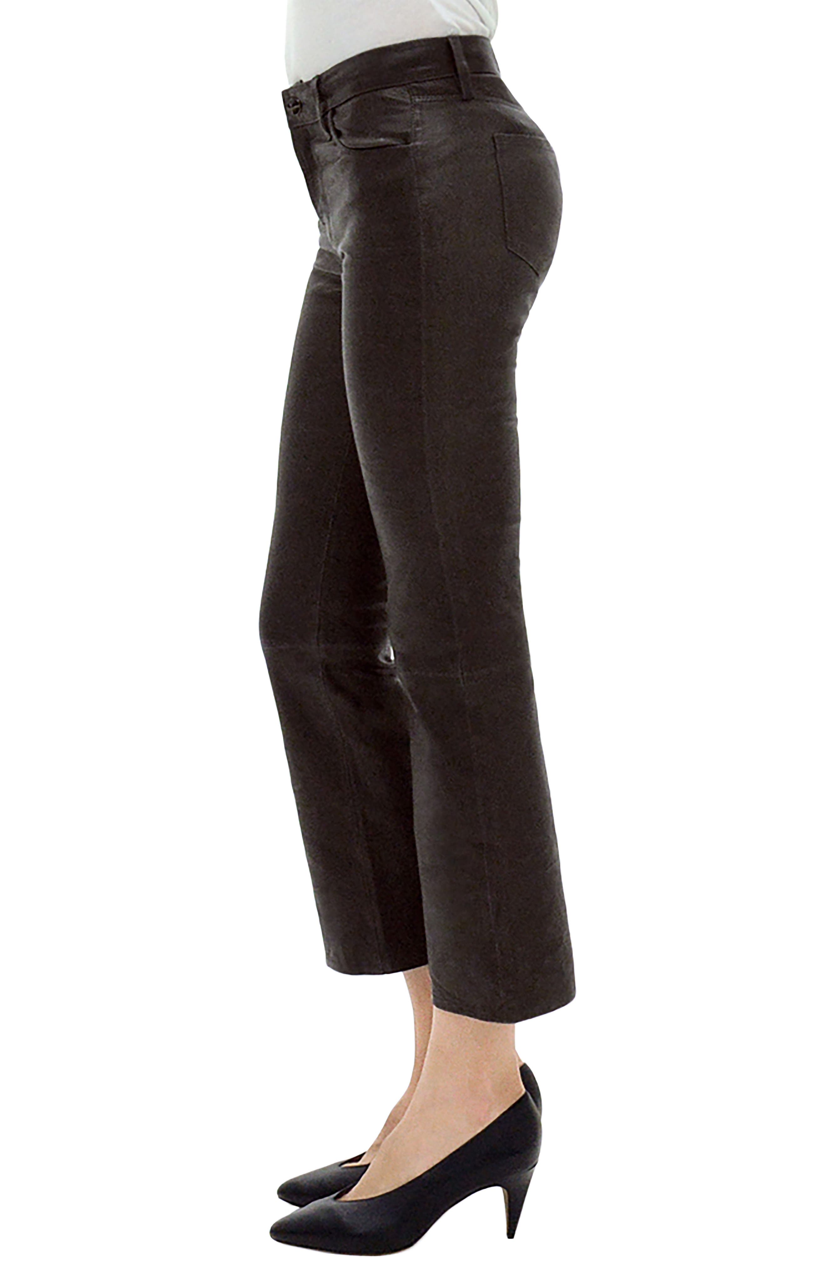 Selena Mid Rise Crop Bootcut Leather Jeans,                             Alternate thumbnail 3, color,
