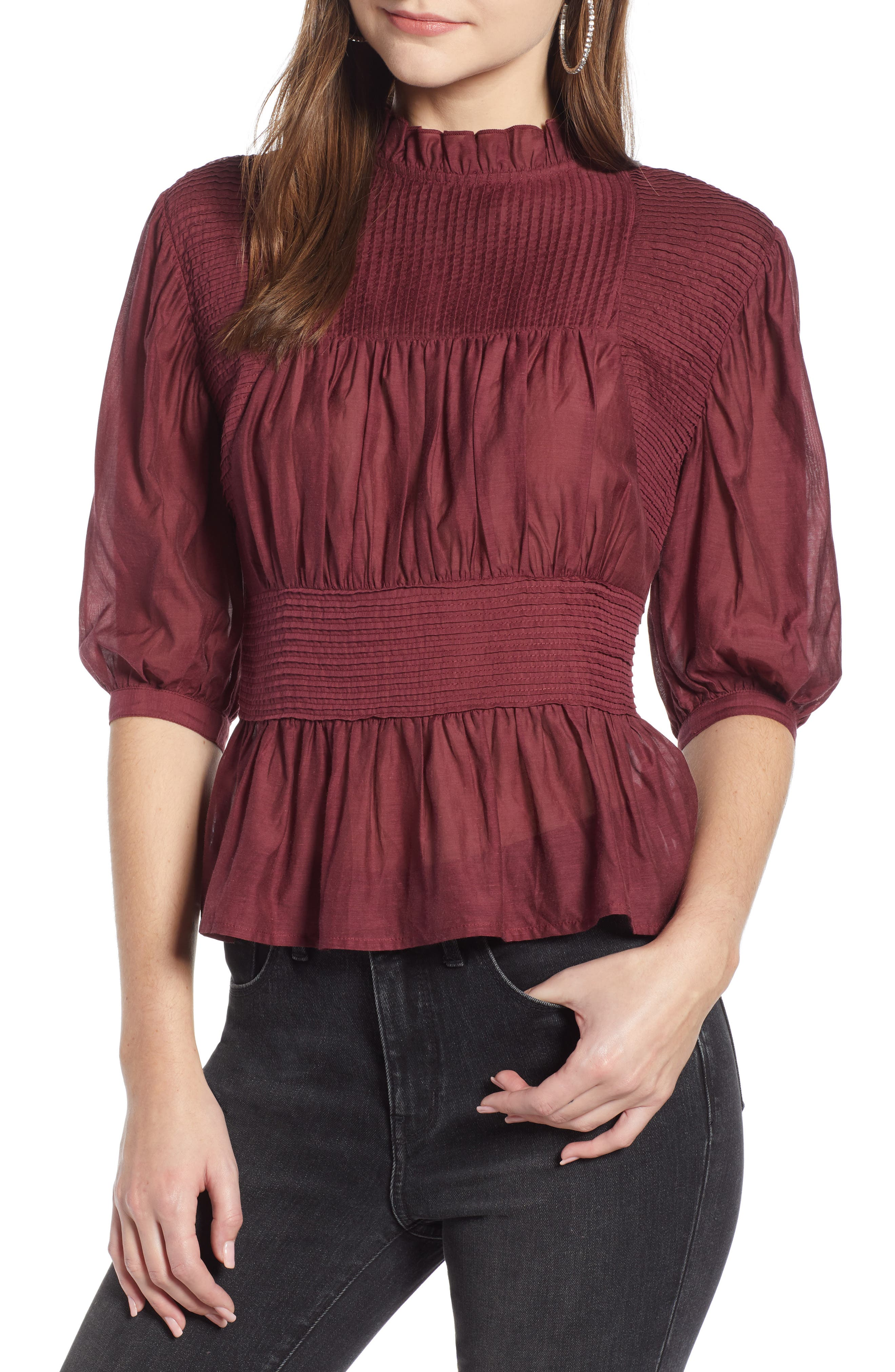 Pleated Peplum Top,                             Main thumbnail 1, color,                             RED TANNIN