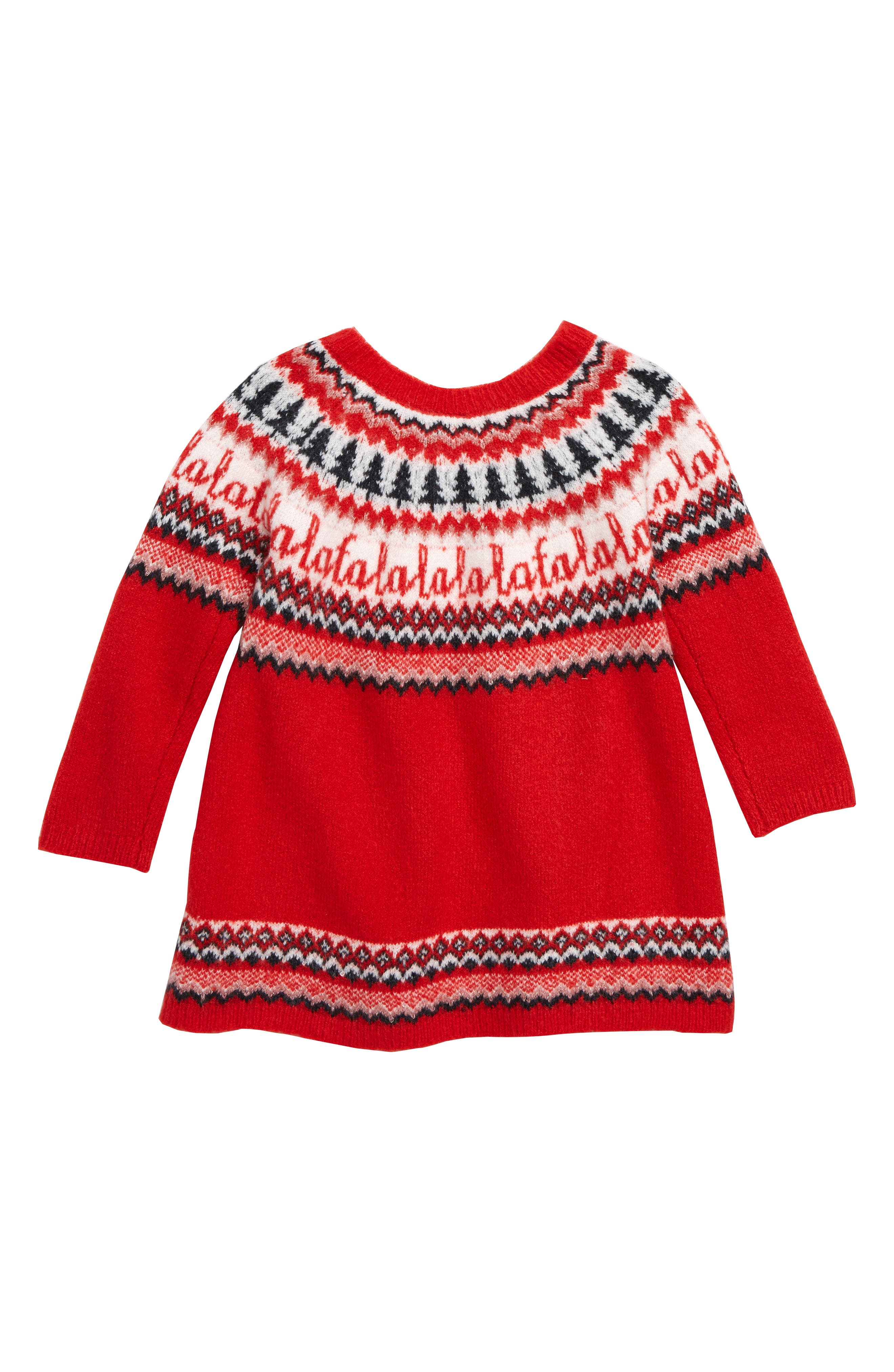 Holiday Sweater Dress,                             Alternate thumbnail 2, color,                             RED PEPPER NORDIC HOLIDAY