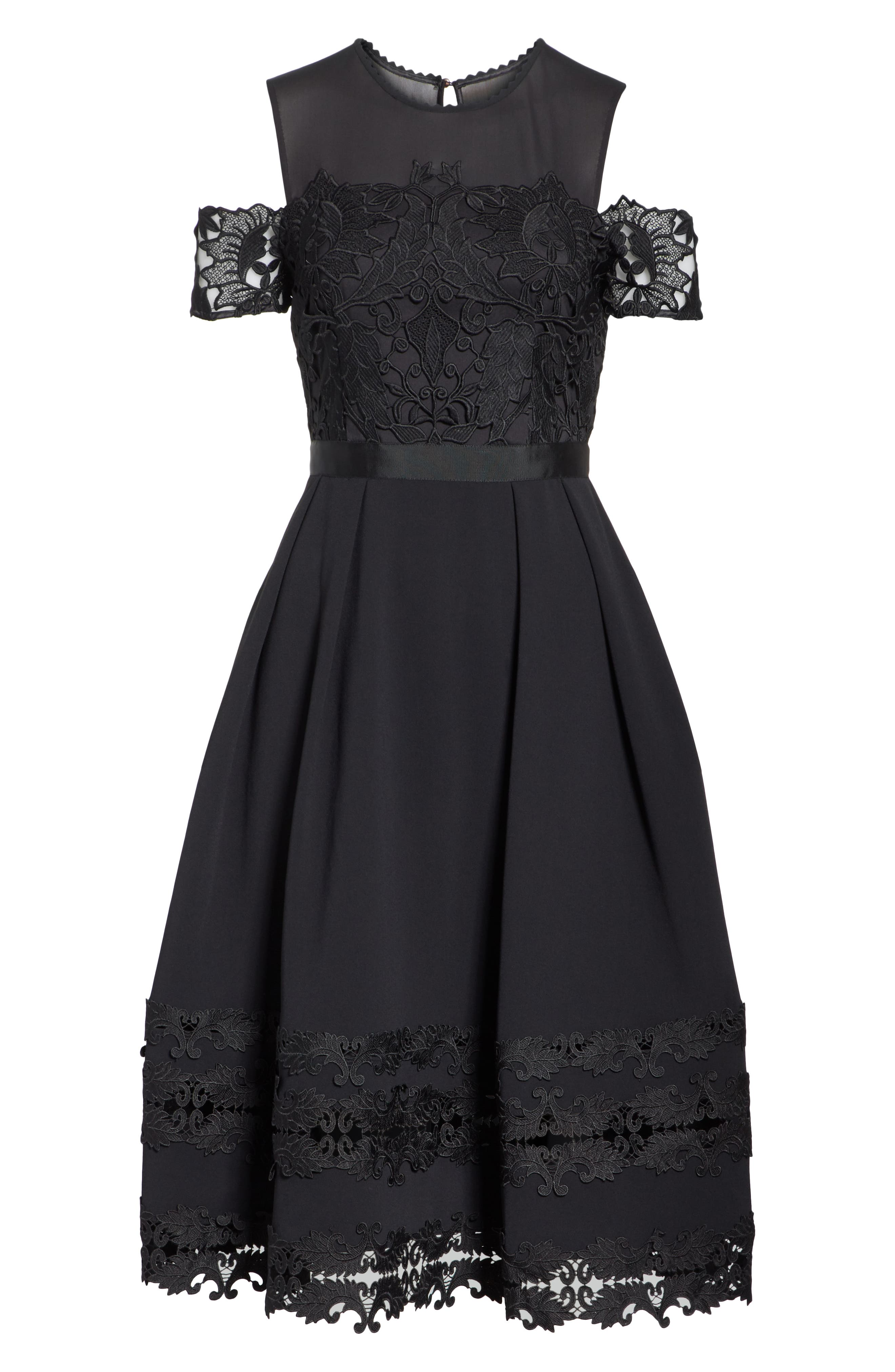 Structured Lace Cold Shoulder Midi Dress,                             Alternate thumbnail 6, color,                             BLACK