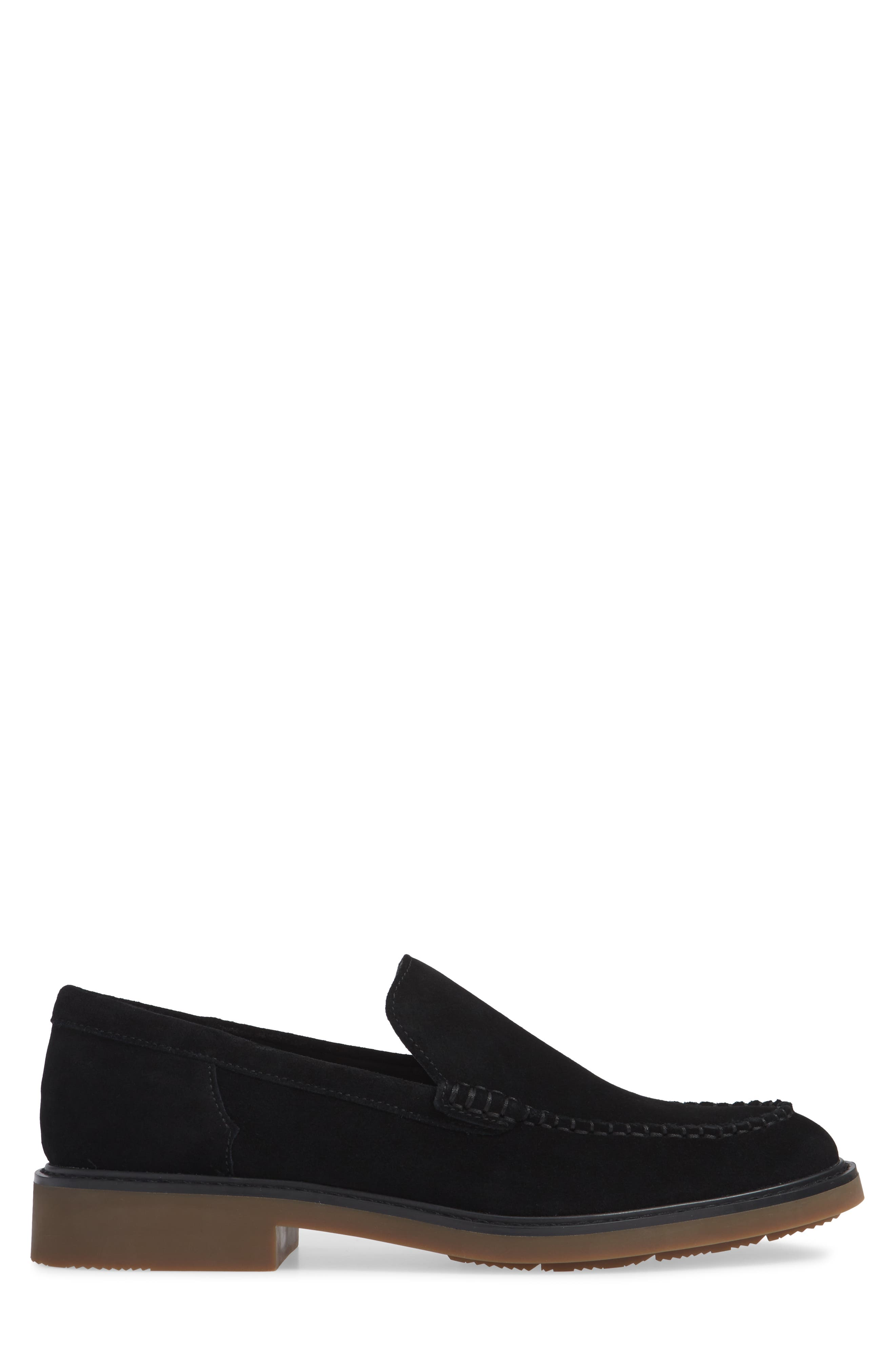 Vance Apron Toe Loafer,                             Alternate thumbnail 3, color,                             BLACK CALF SUEDE