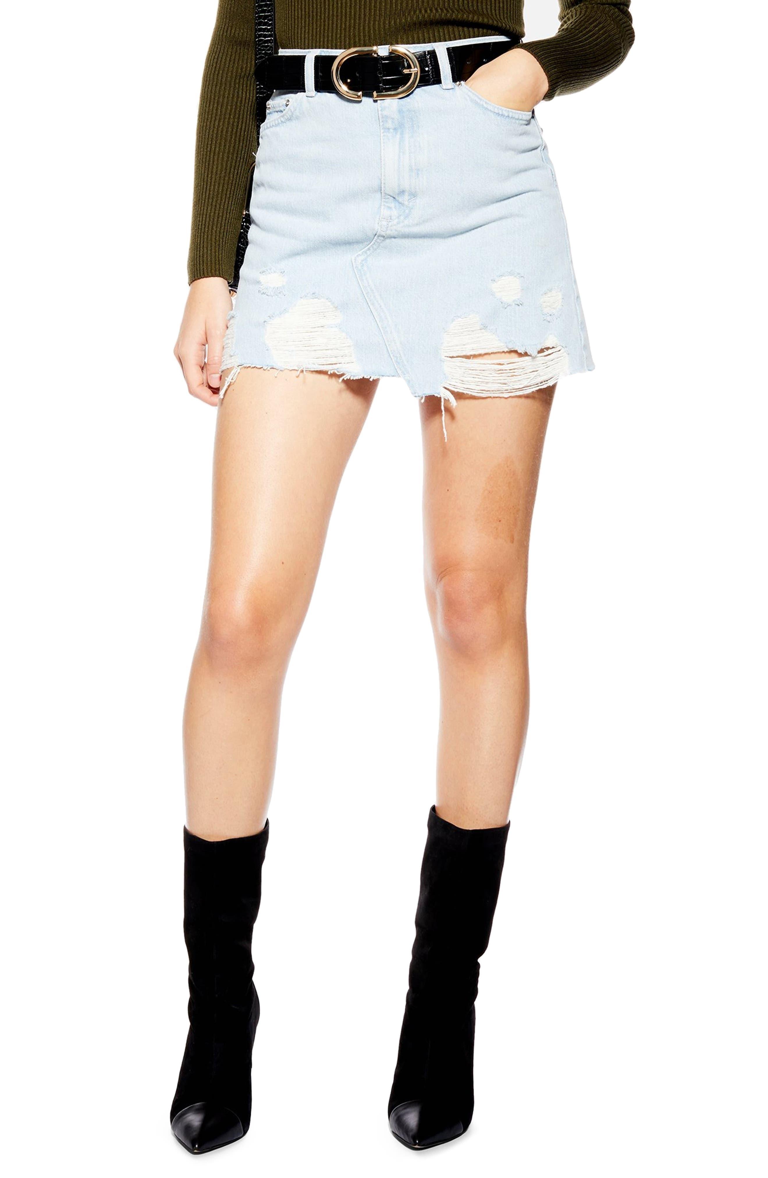 Topshop Asymmetrical Ripped Denim Skirt, US (fits like 0-2) - Blue