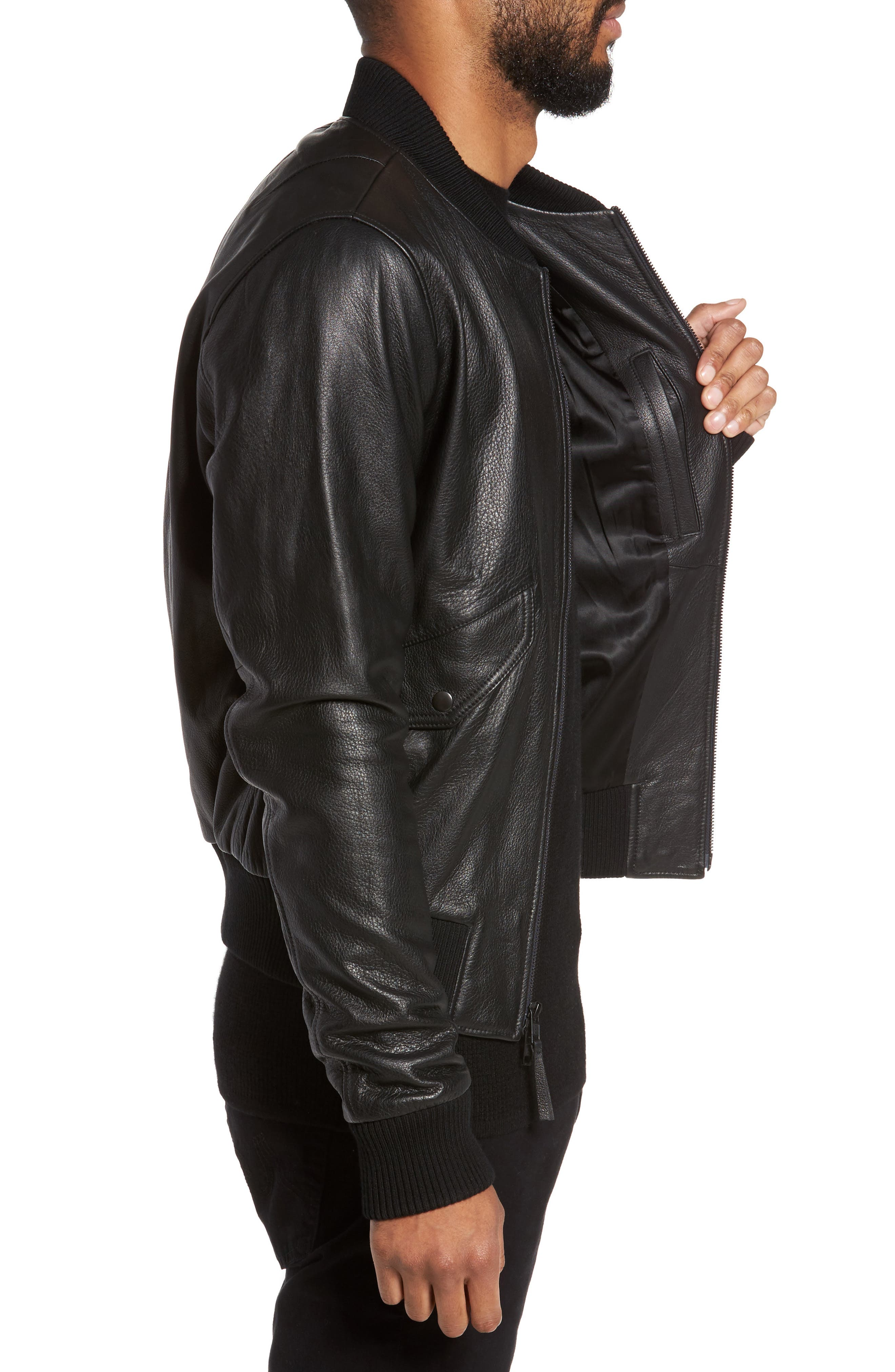 Lambskin Bomber Jacket,                             Alternate thumbnail 3, color,                             001
