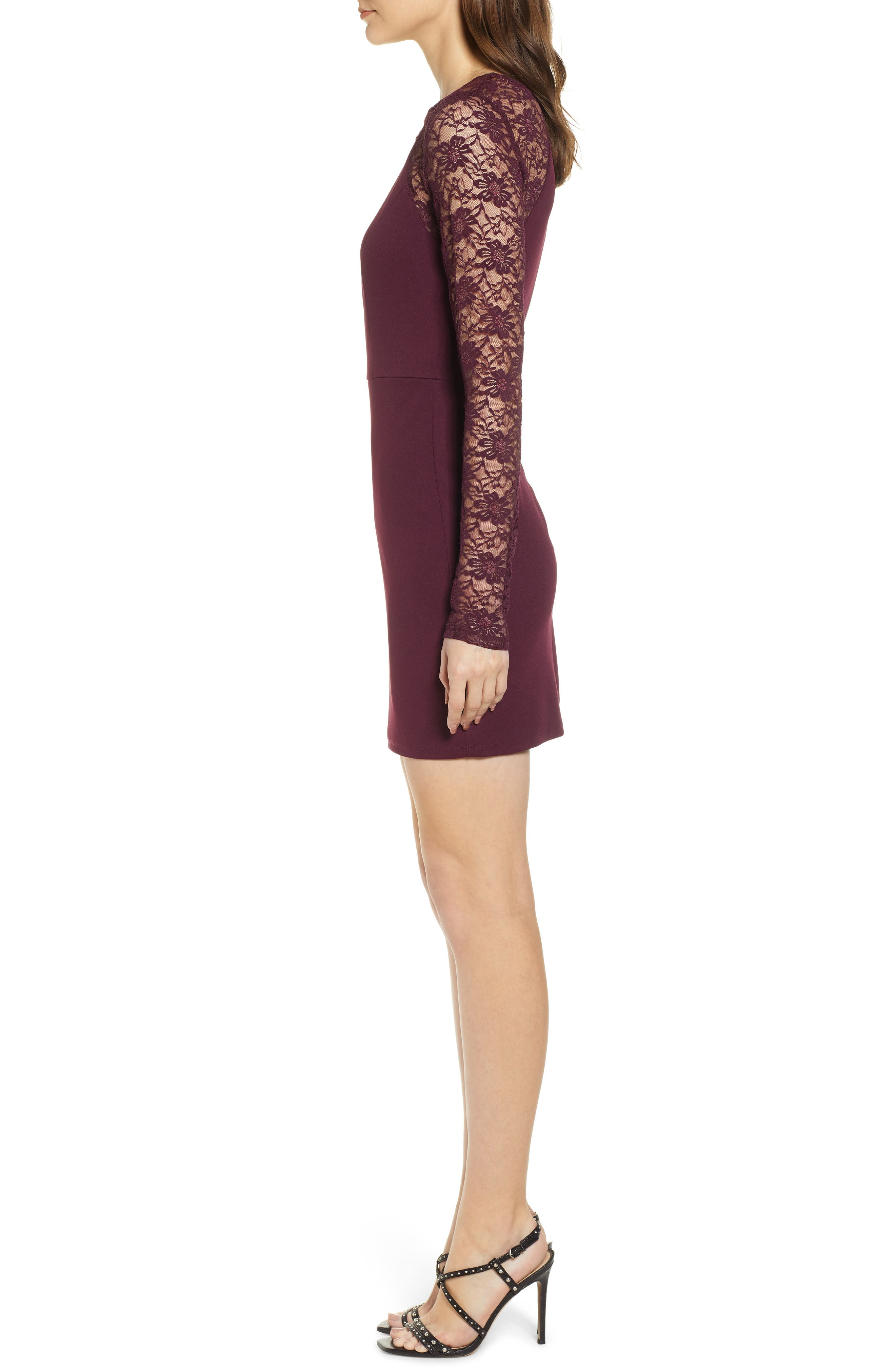 Lace Sleeve Body-Con Dress,                             Alternate thumbnail 3, color,                             PLUM