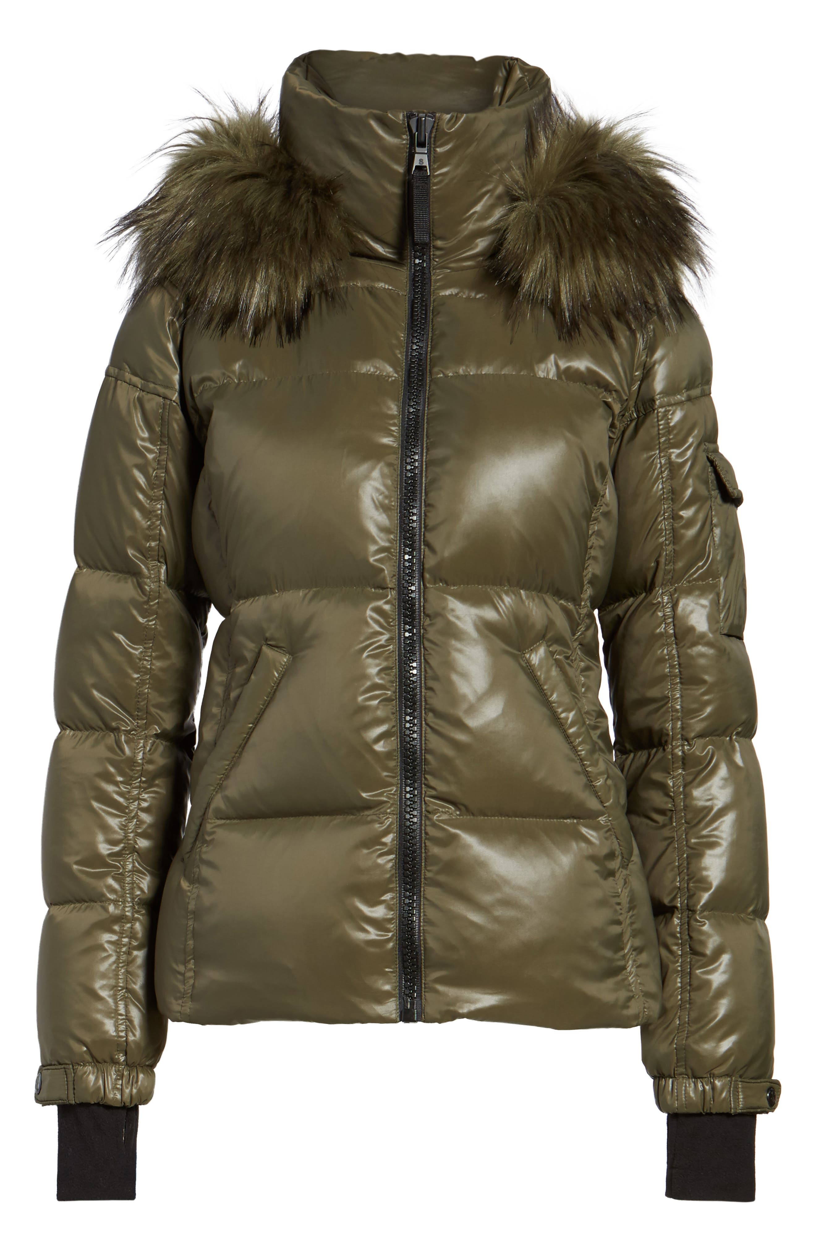Kylie Faux Fur Trim Gloss Puffer Jacket,                             Alternate thumbnail 4, color,                             369