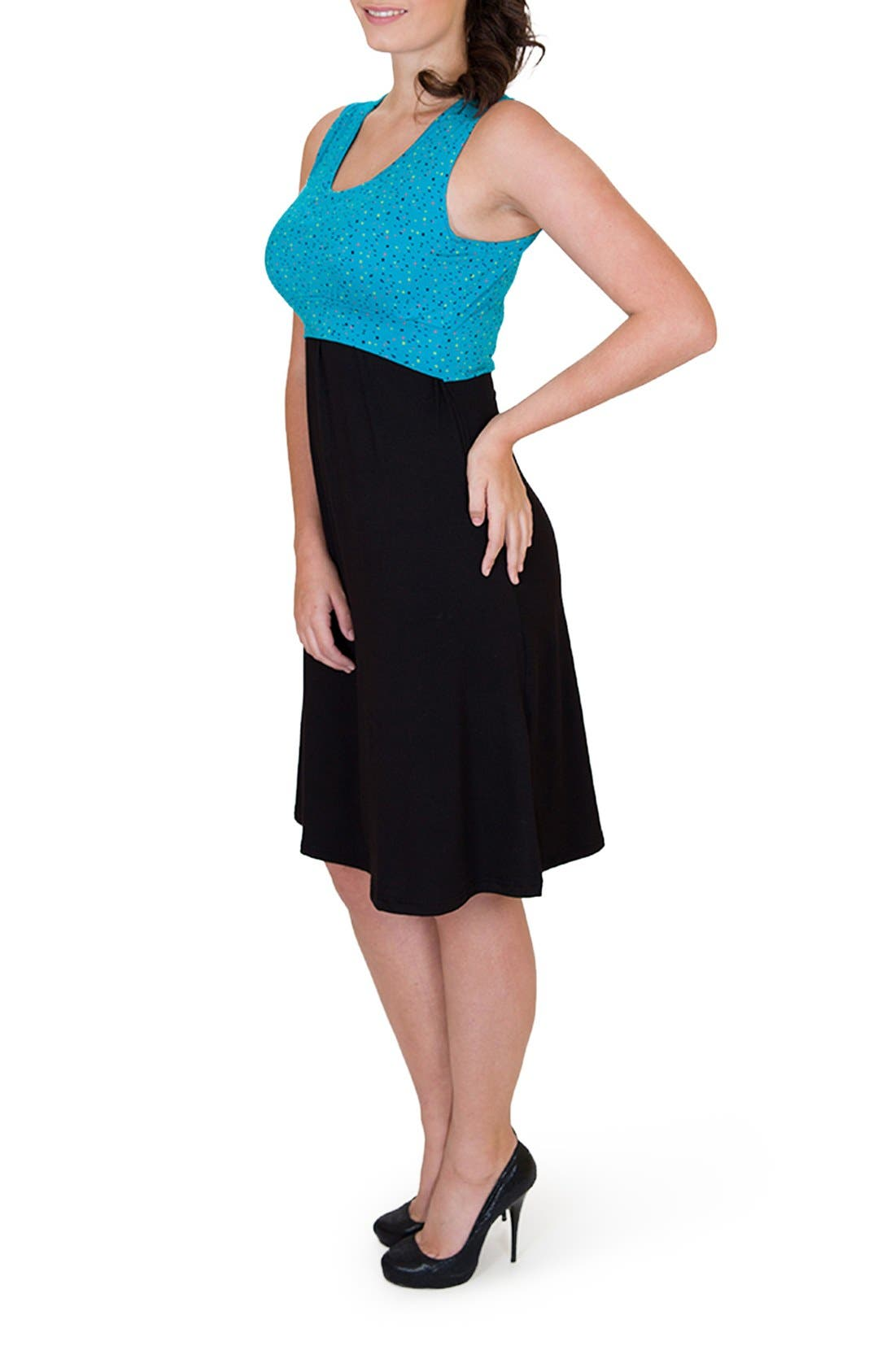 'Ana' Maternity/Nursing Dress,                             Alternate thumbnail 4, color,                             DOTS TOP W/ BLACK SKIRT