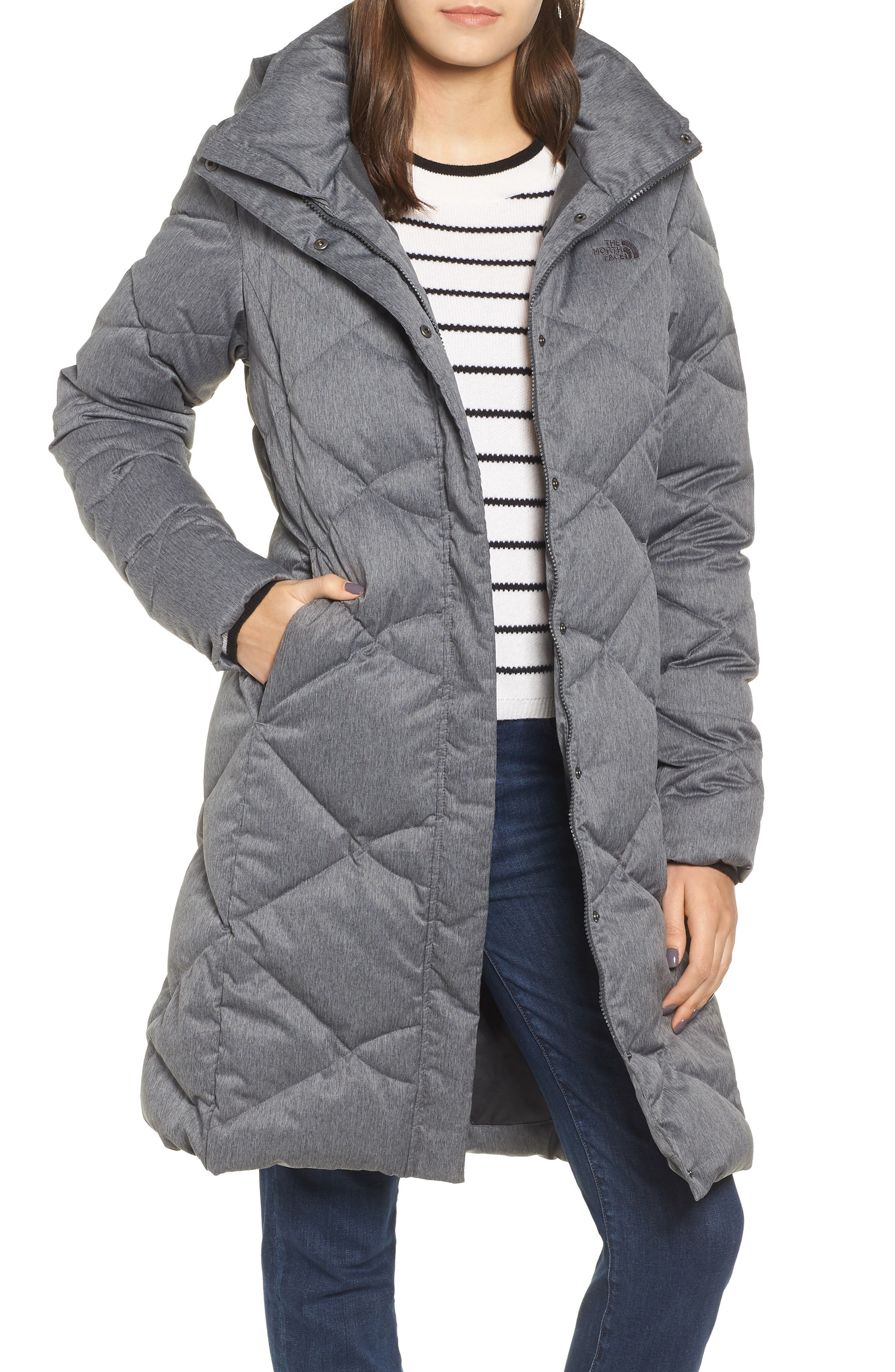 Miss Metro II Water Repellent 550 Fill Power Down Hooded Parka,                             Main thumbnail 1, color,                             TNF DARK GREY HEATHER