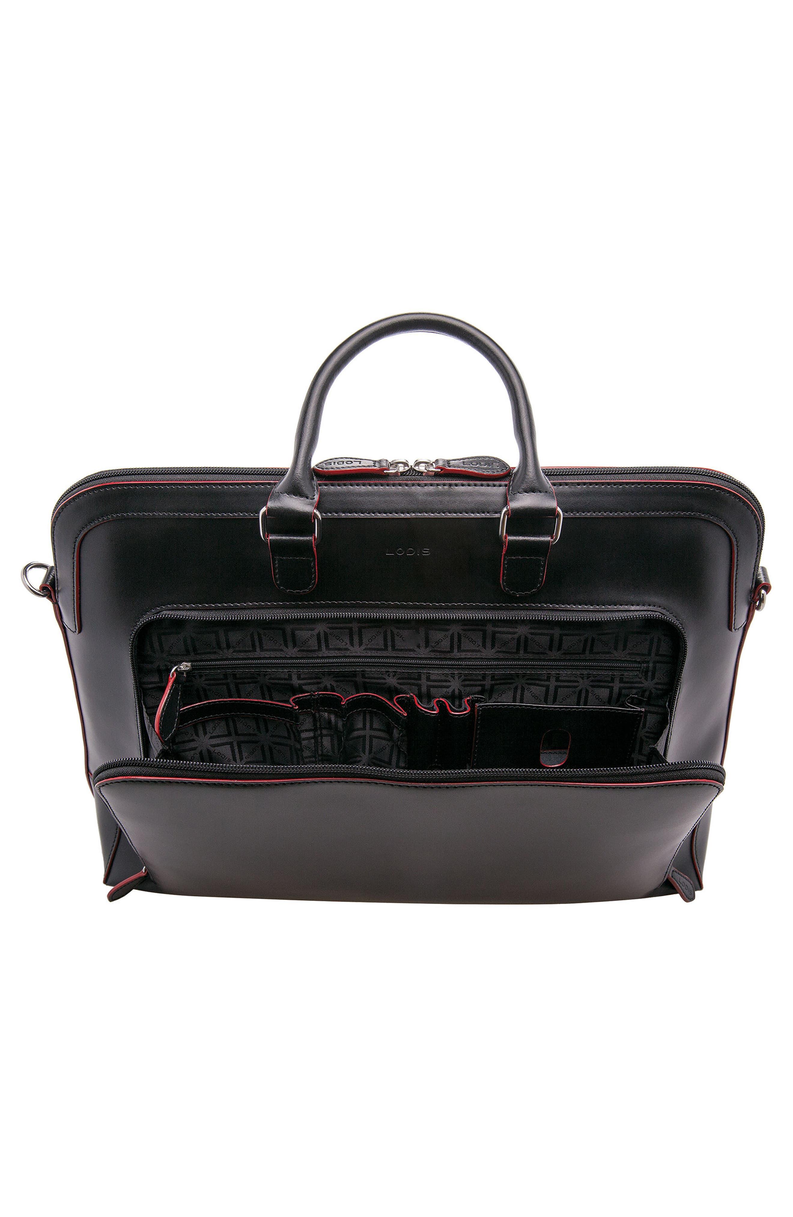 Lodis 'Audrey Brera' Leather Briefcase,                             Alternate thumbnail 3, color,                             001