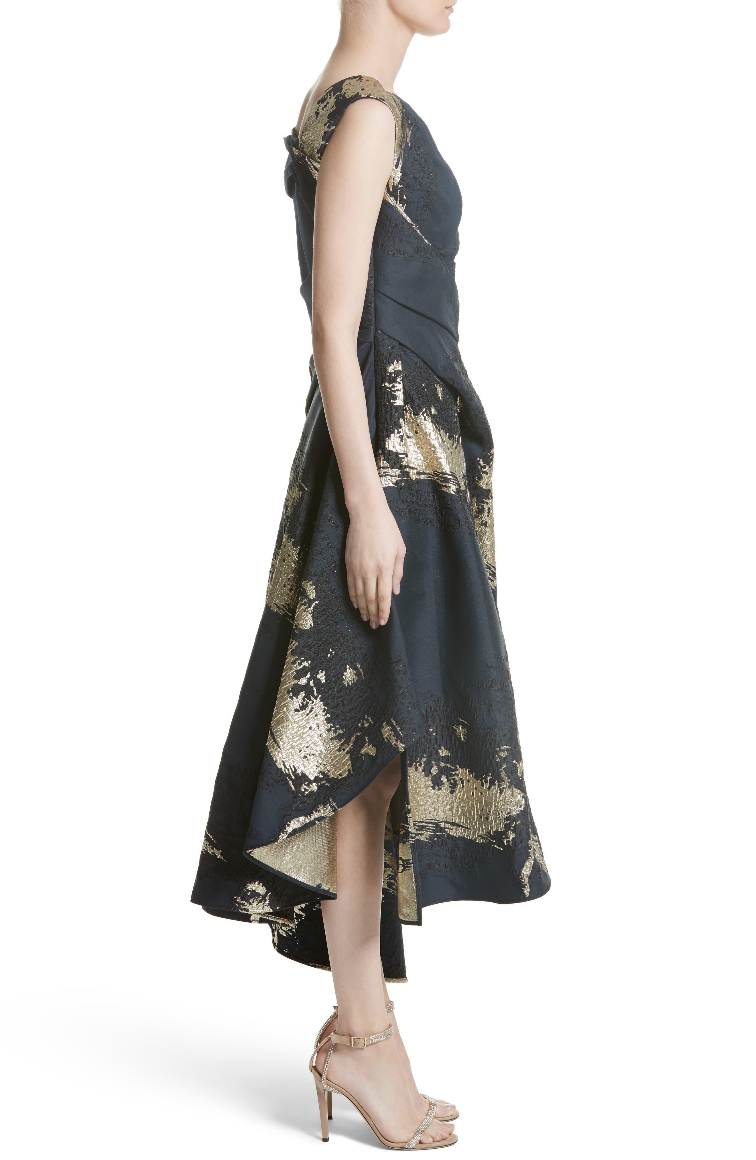 Jacquard Draped Asymmetrical Dress,                             Alternate thumbnail 3, color,                             410