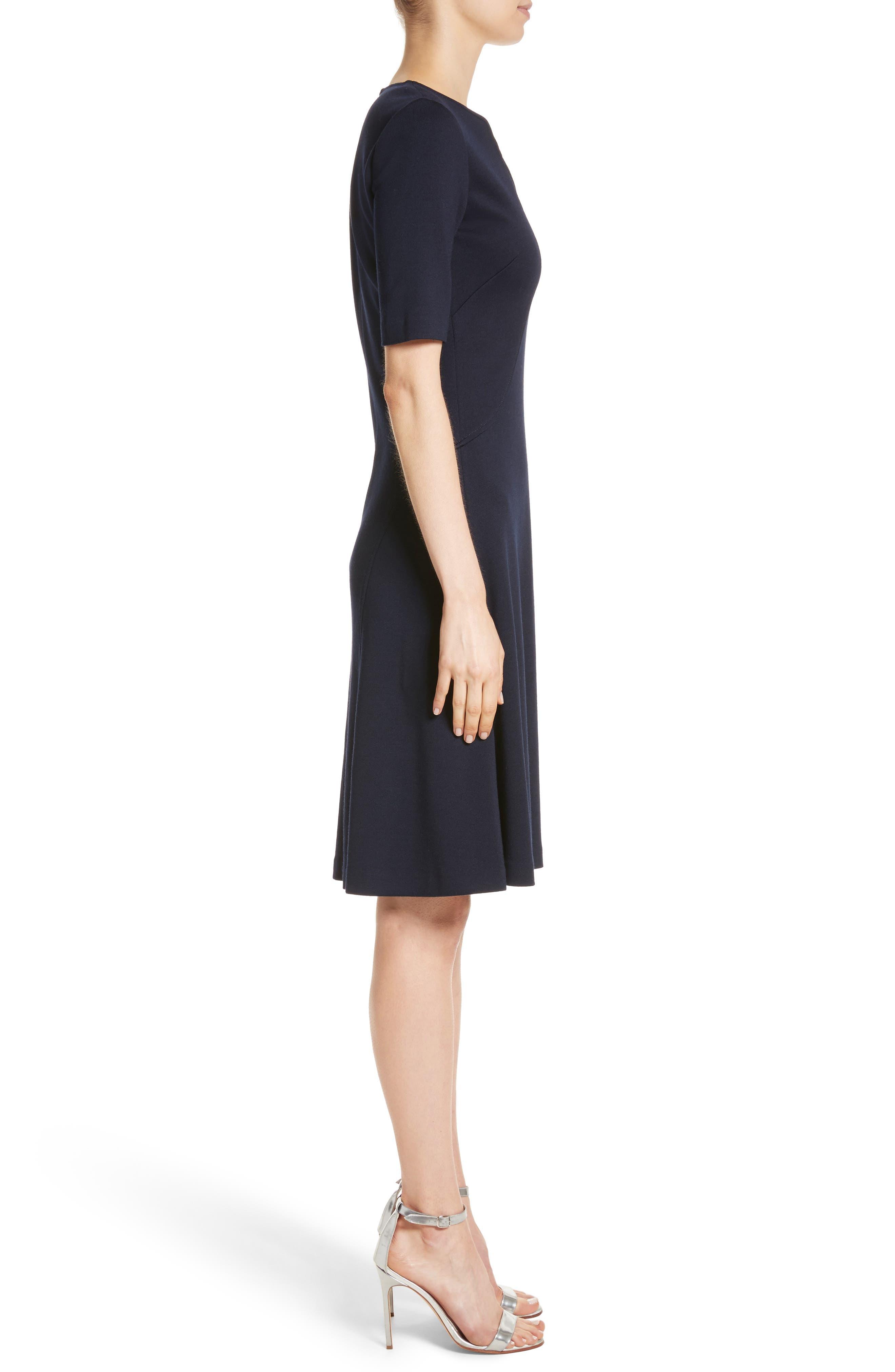 Milano Knit A-Line Dress,                             Alternate thumbnail 3, color,                             410