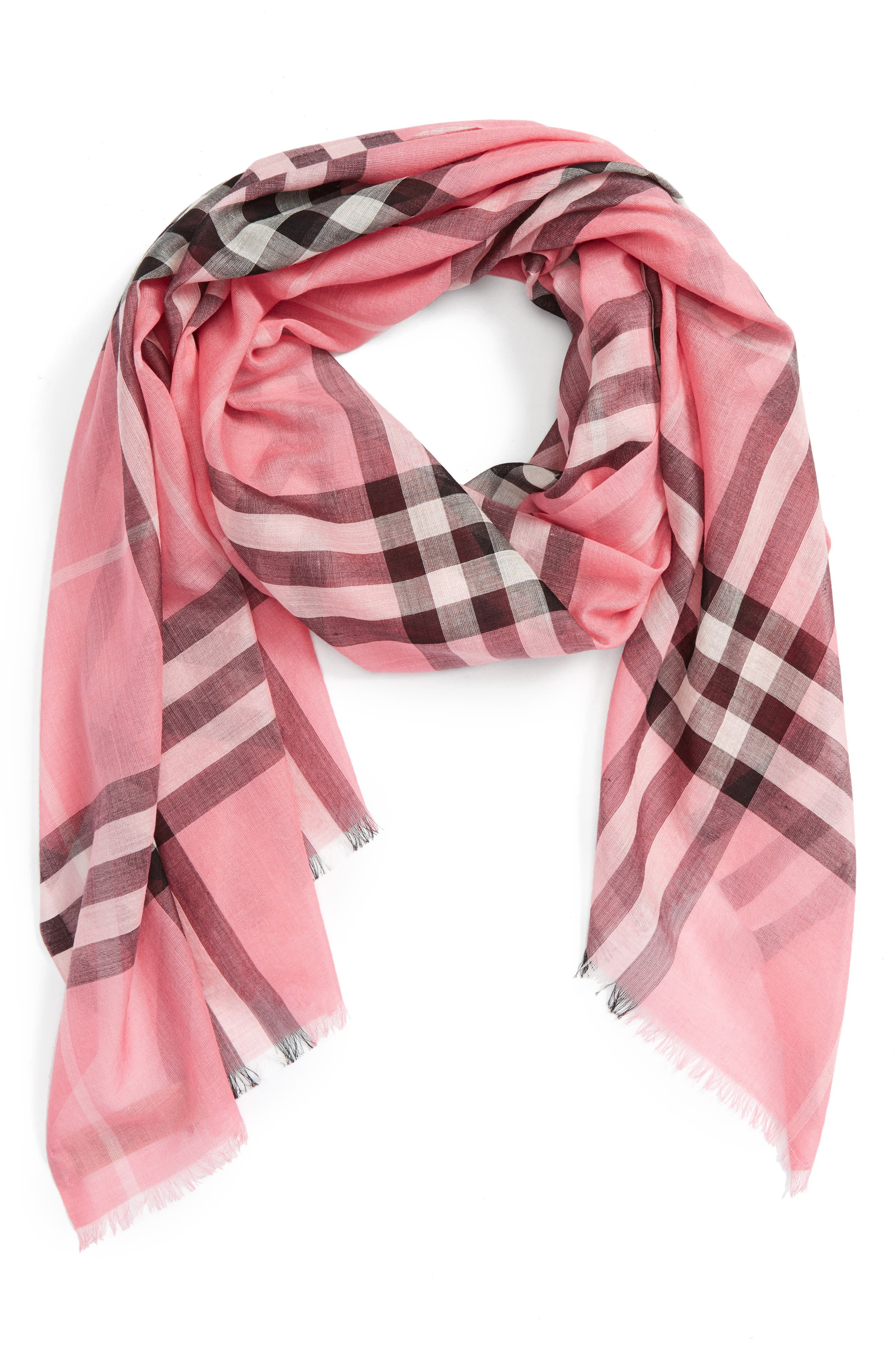 Giant Check Print Wool & Silk Scarf,                             Alternate thumbnail 117, color,