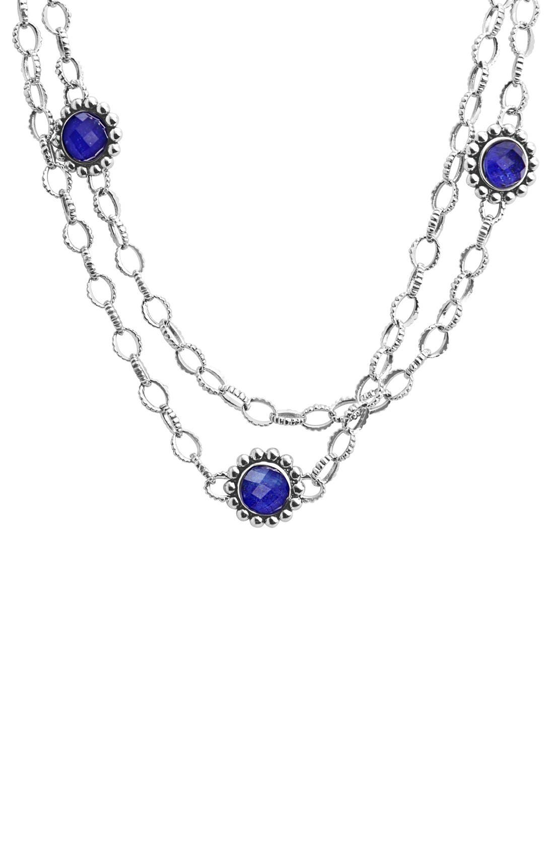 'Maya' Long Station Necklace,                             Alternate thumbnail 4, color,                             LAPIS