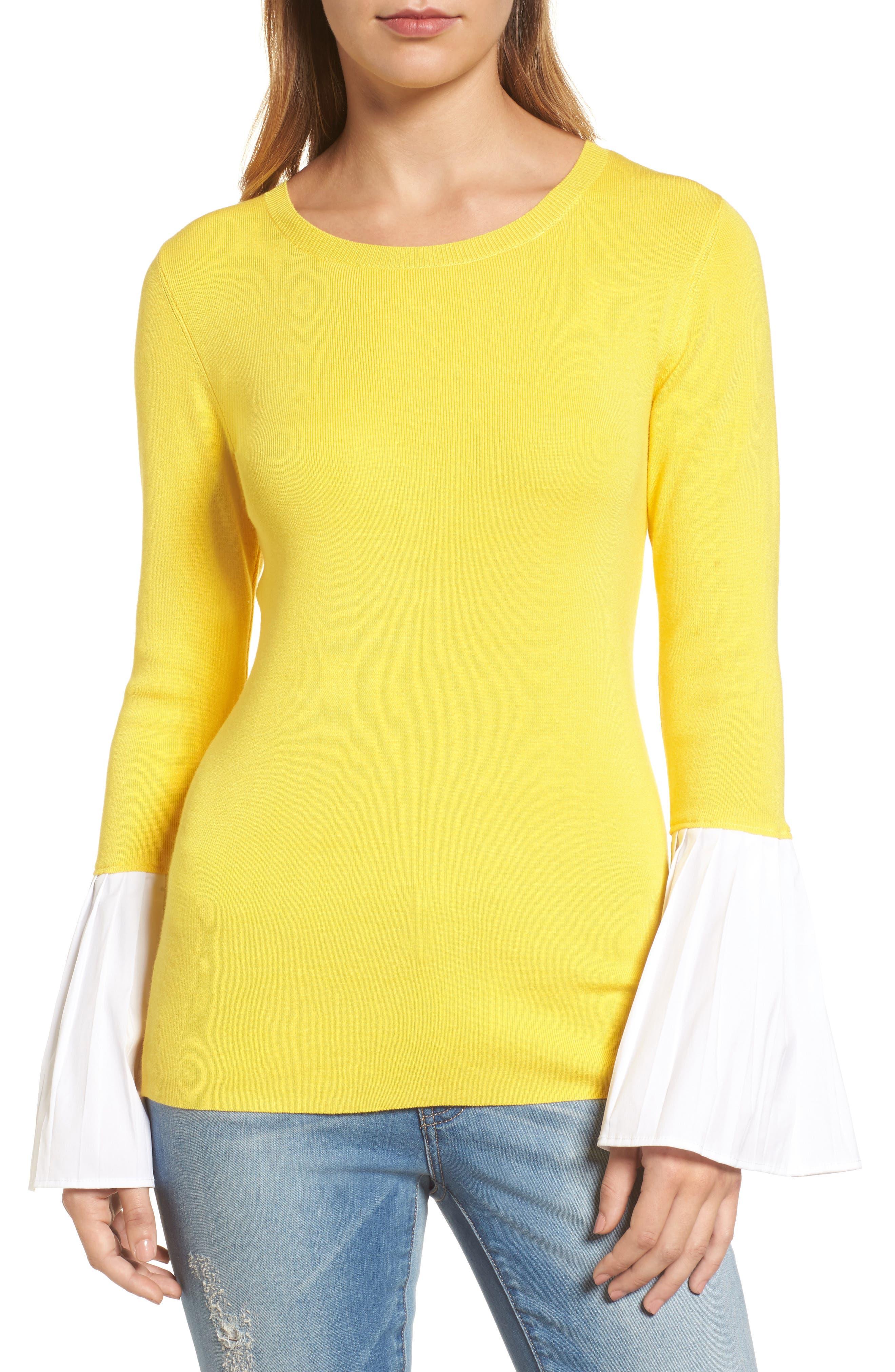 Poplin Bell Cuff Sweater,                             Main thumbnail 4, color,