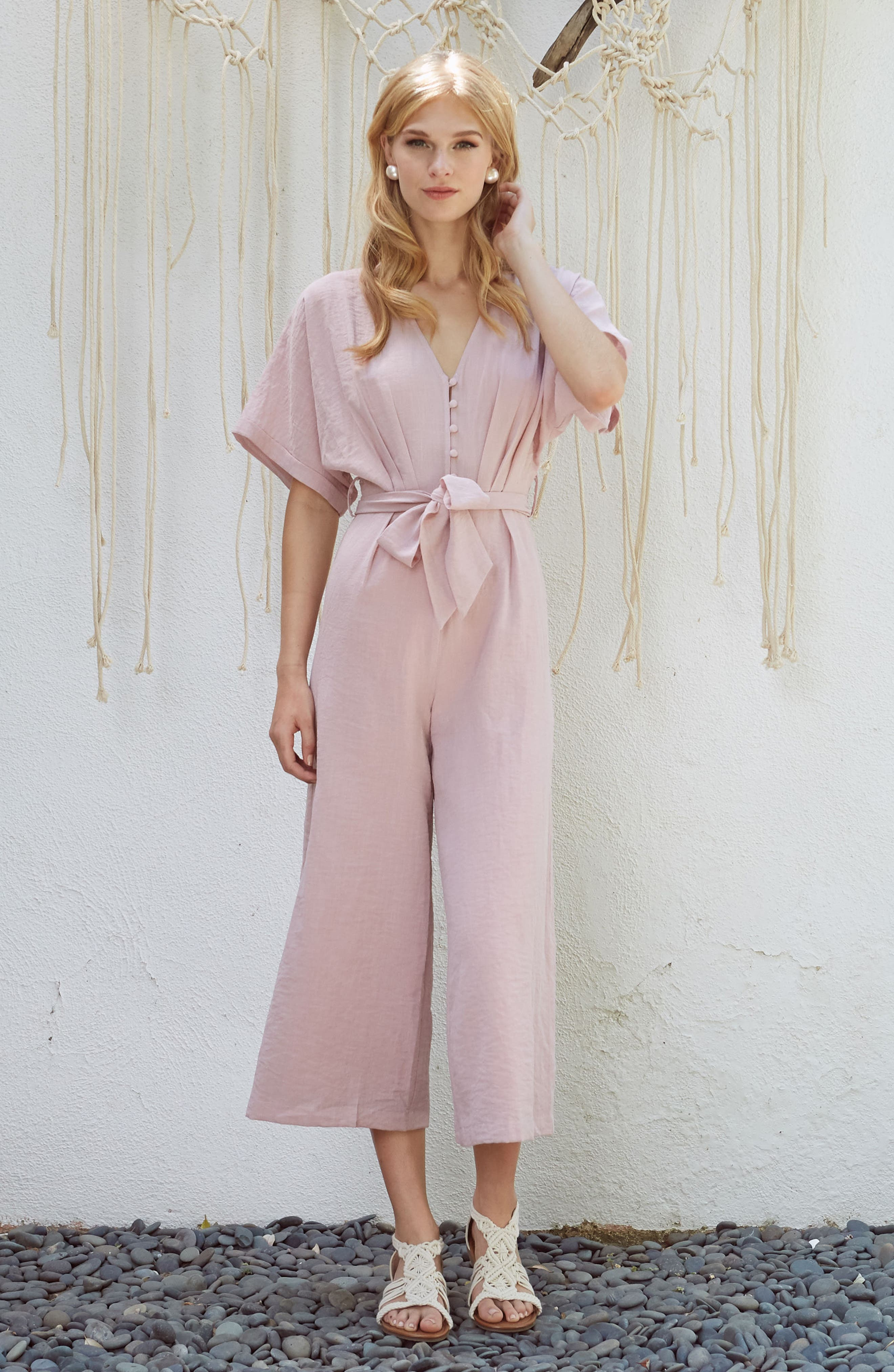 Peony Tie Waist Jumpsuit,                             Alternate thumbnail 7, color,                             681