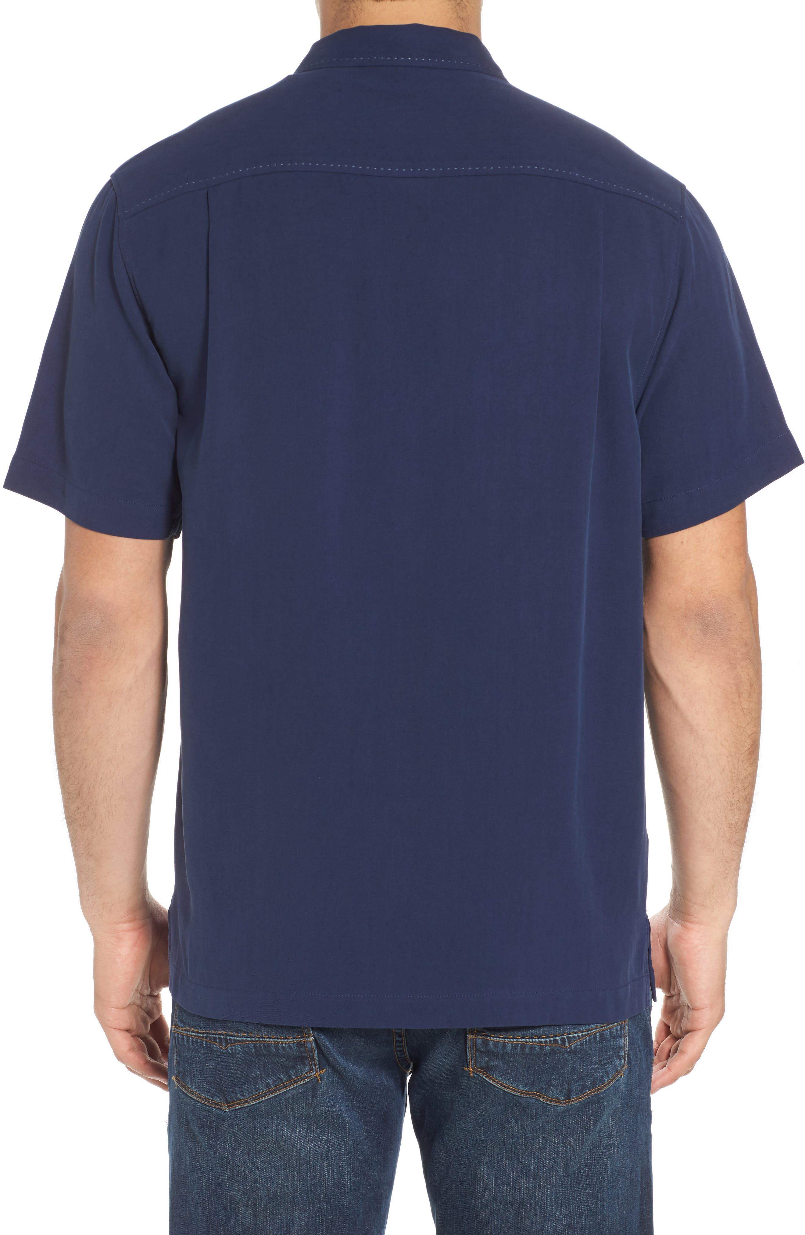 Catalina Silk Camp Shirt,                             Alternate thumbnail 2, color,                             NAVY