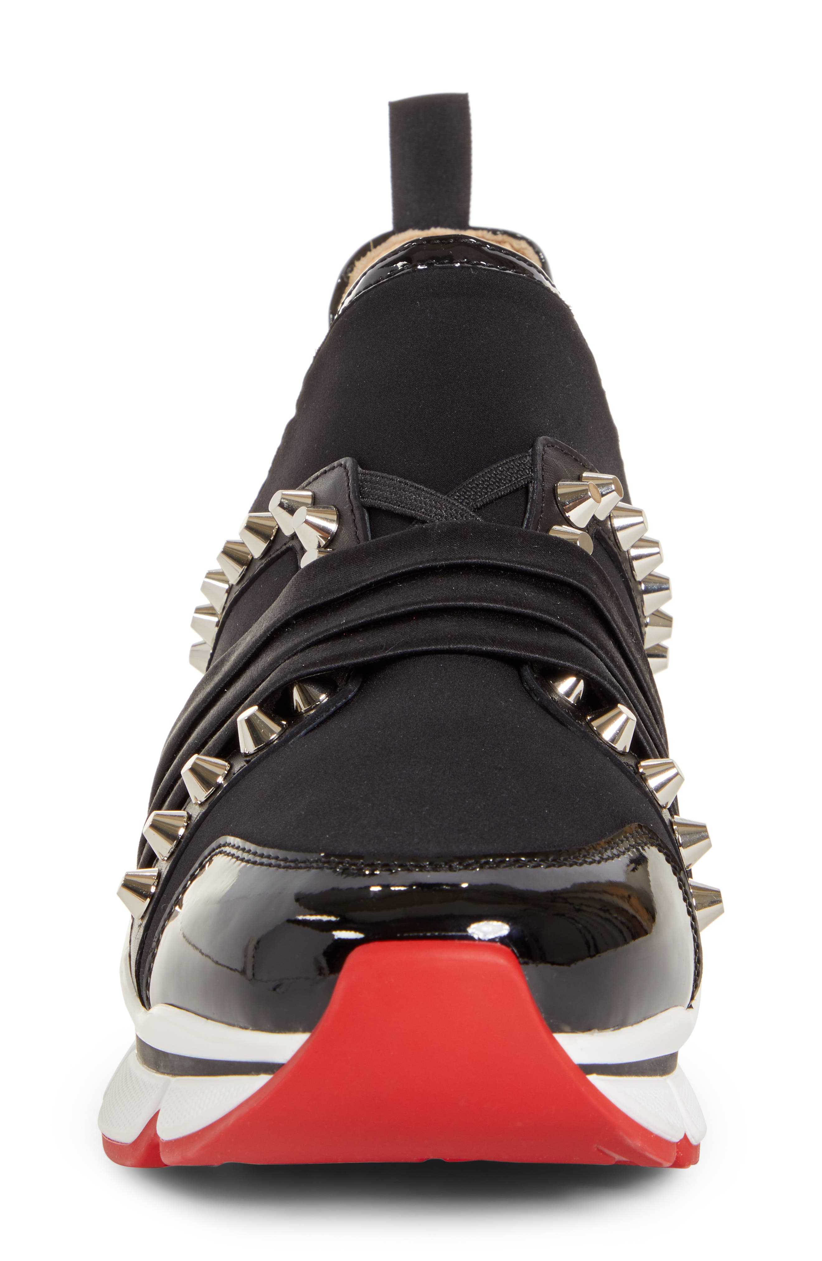 CHRISTIAN LOUBOUTIN,                             Run Slip-On Sneaker,                             Alternate thumbnail 4, color,                             BLACK