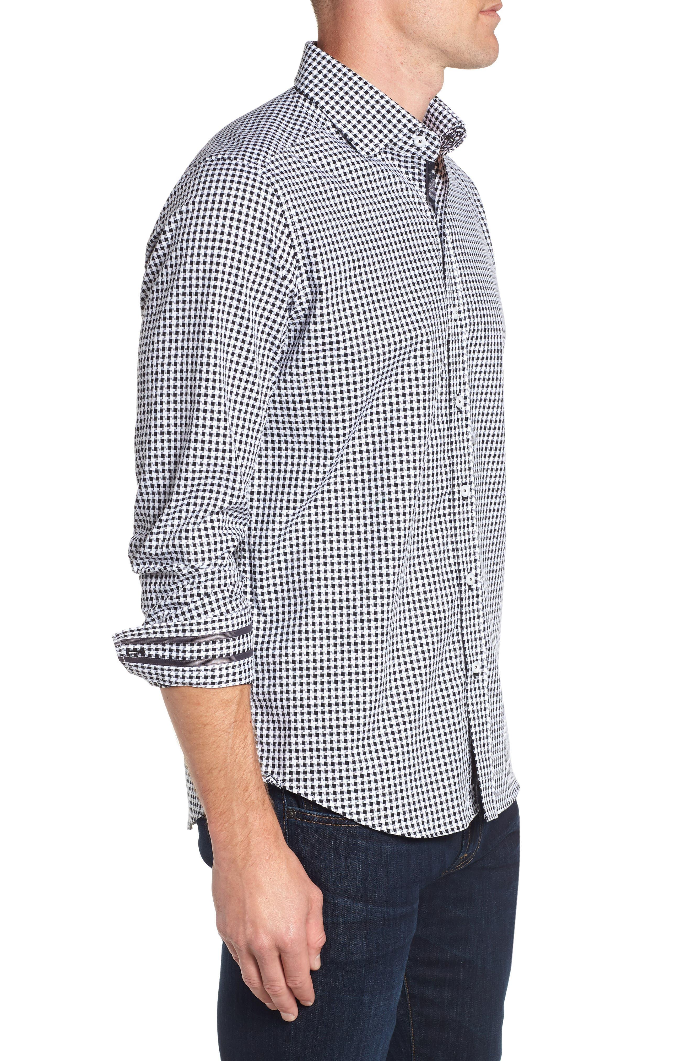 Emmett Tailored Fit Sport Shirt,                             Alternate thumbnail 4, color,                             BLACK
