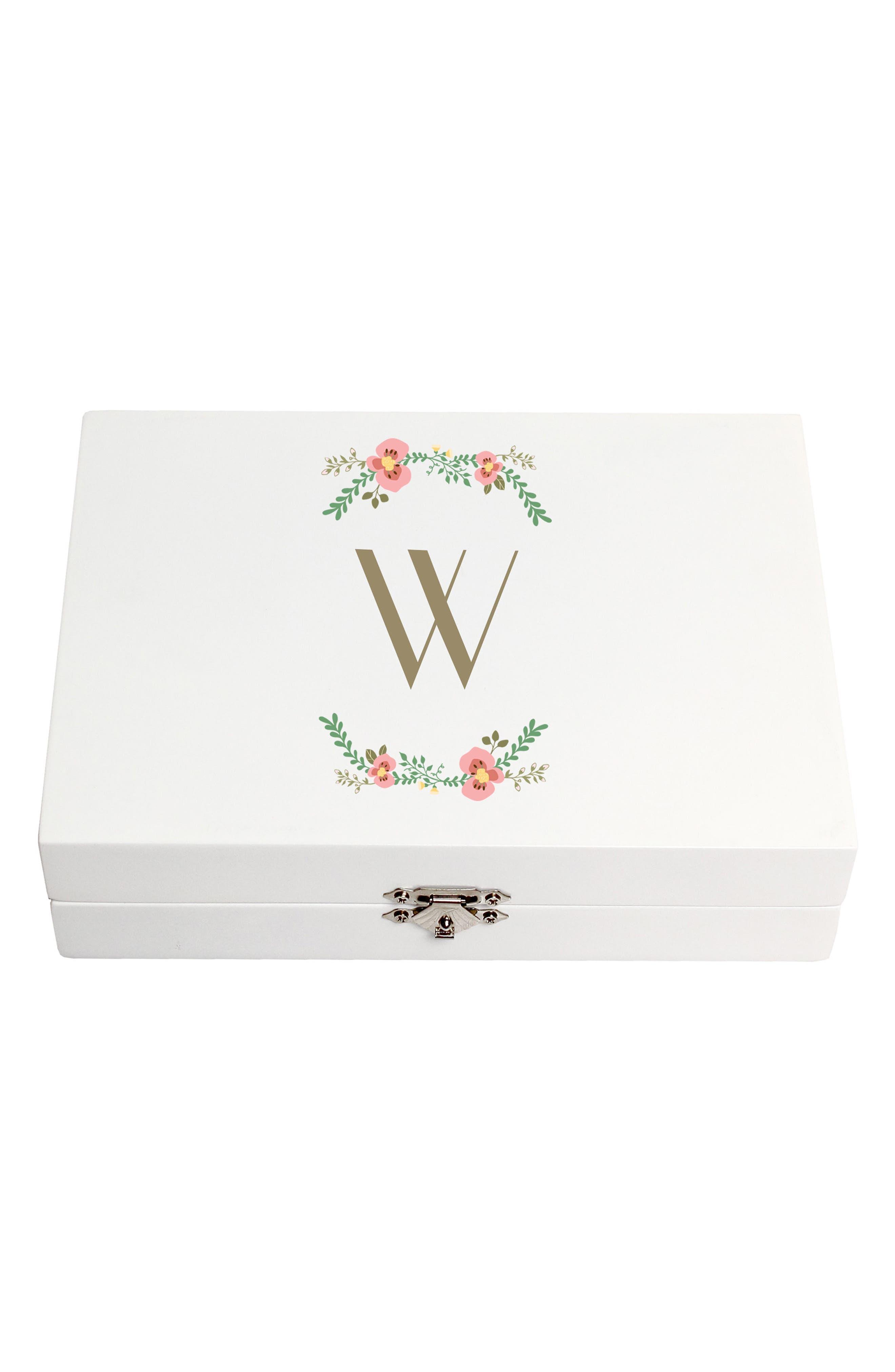Monogram Floral Wedding Ring Box,                             Main thumbnail 23, color,