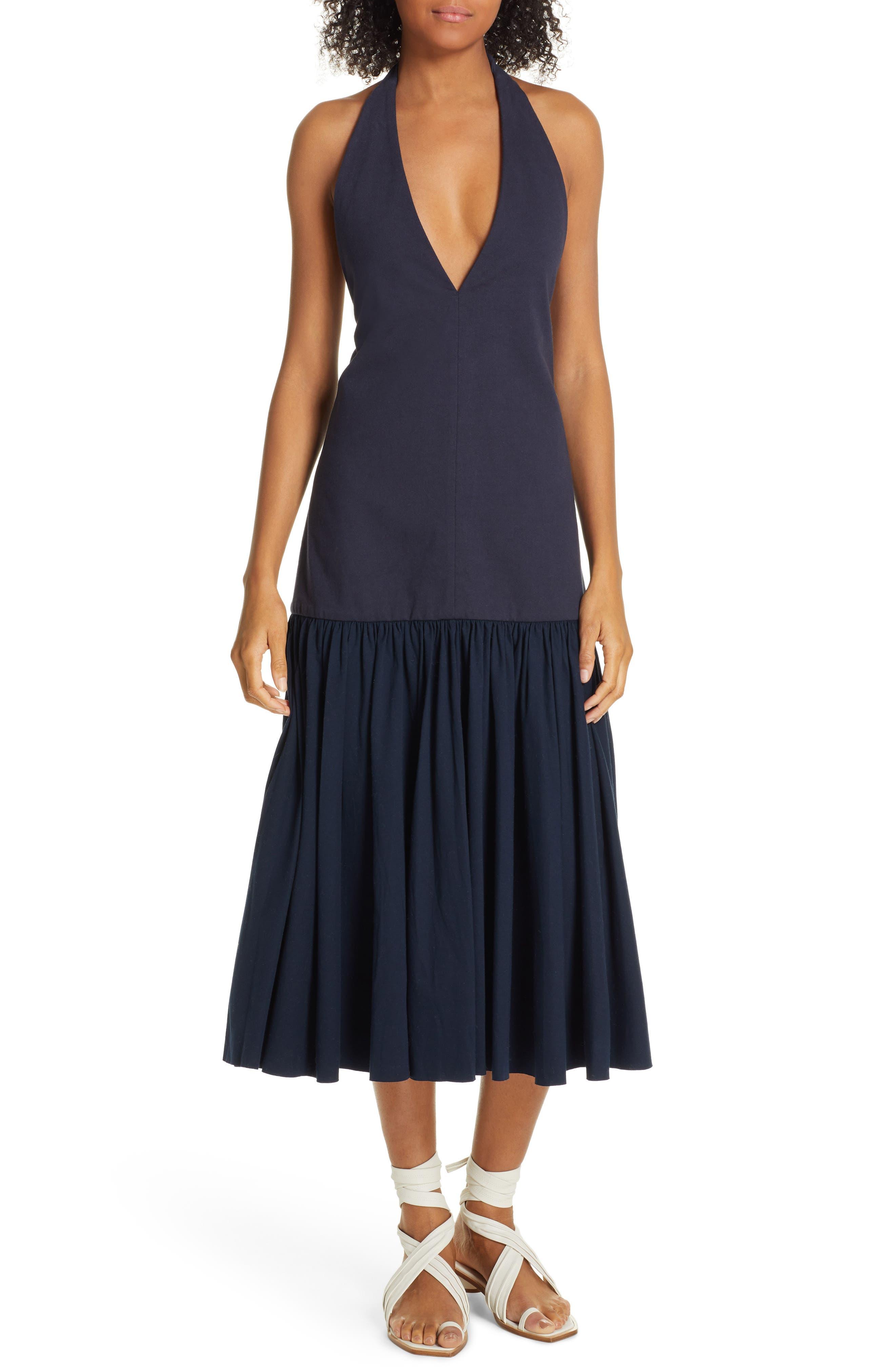 Tibi Deep-V Punto Milano Midi Dress, Blue