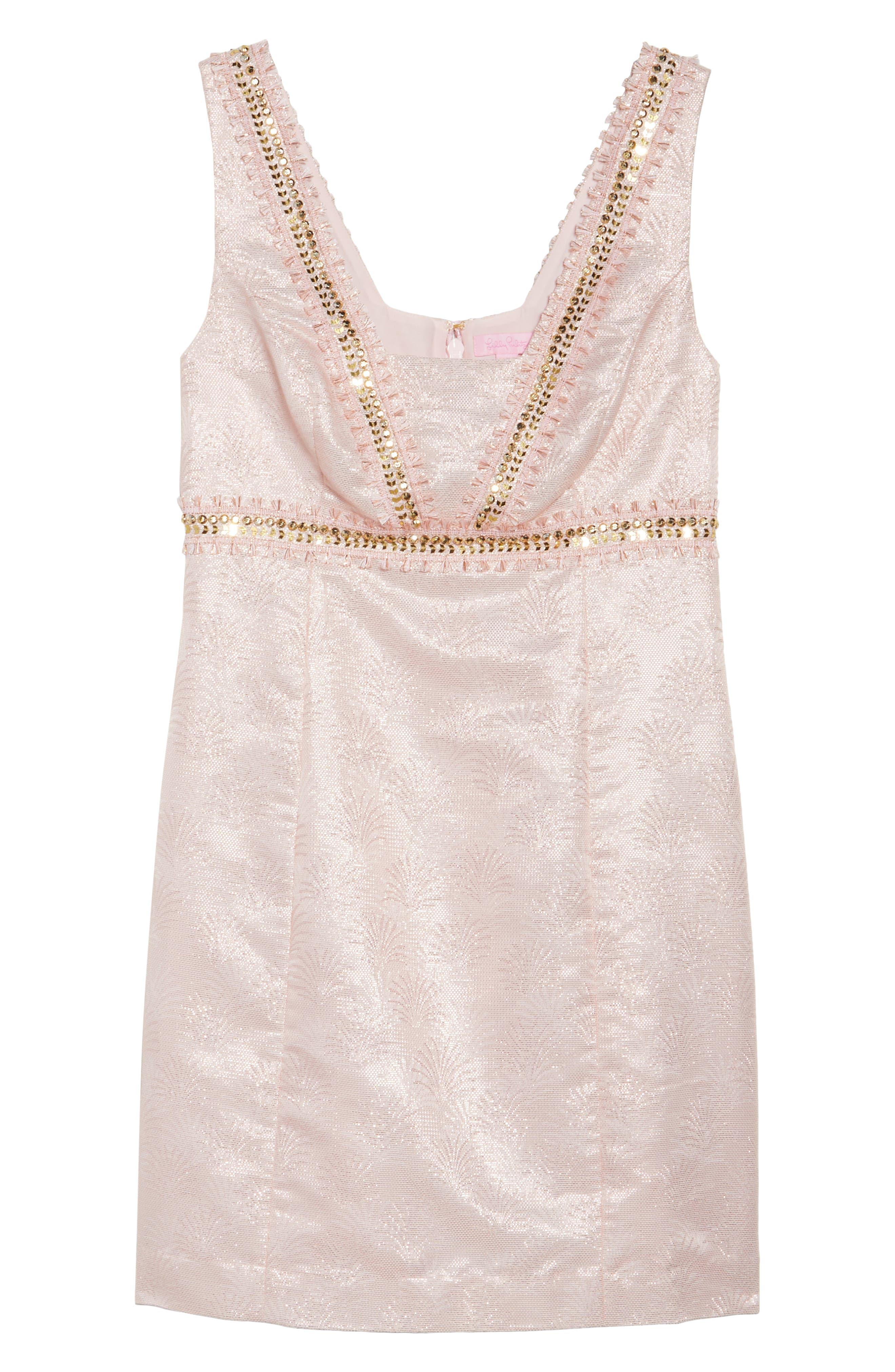 Karter Embellished Sheath Dress,                             Alternate thumbnail 6, color,                             650
