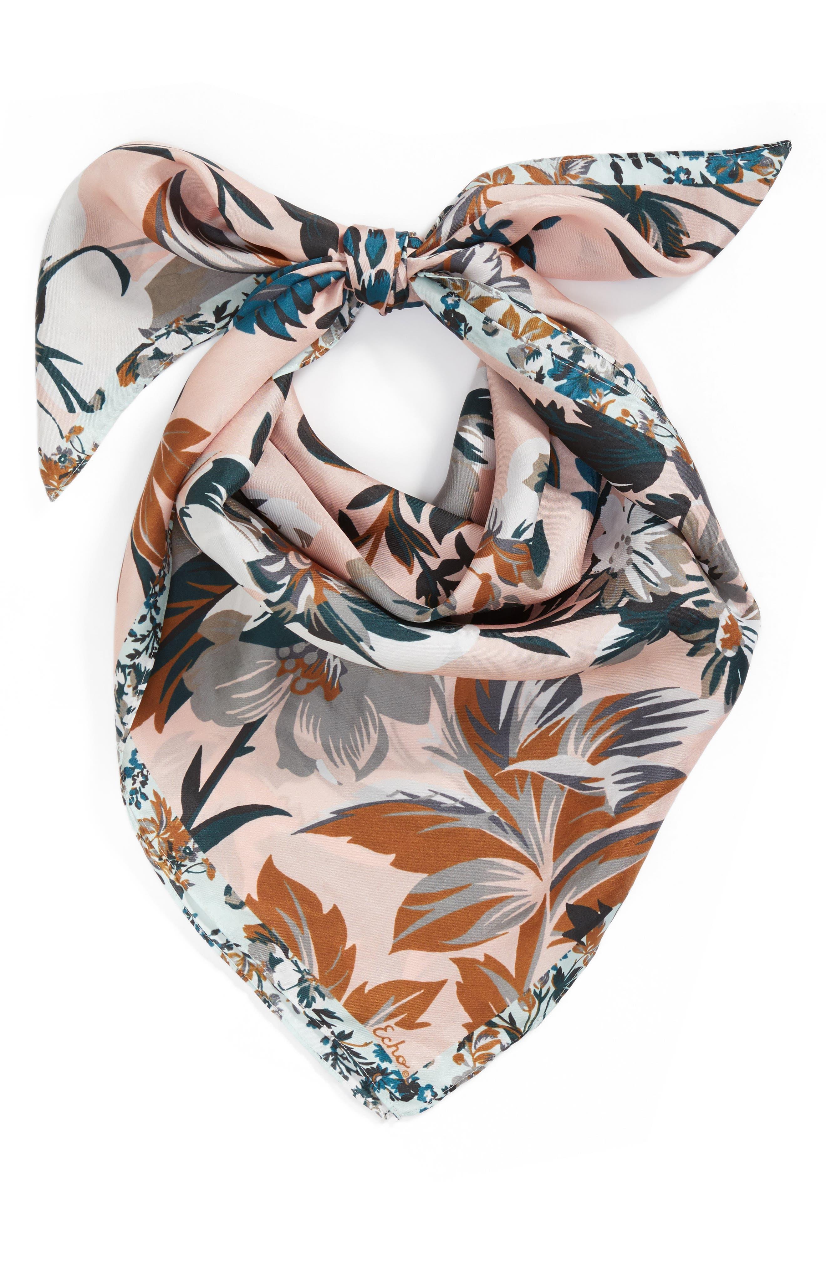 Highgate Floral Square Silk Scarf,                             Alternate thumbnail 2, color,                             110