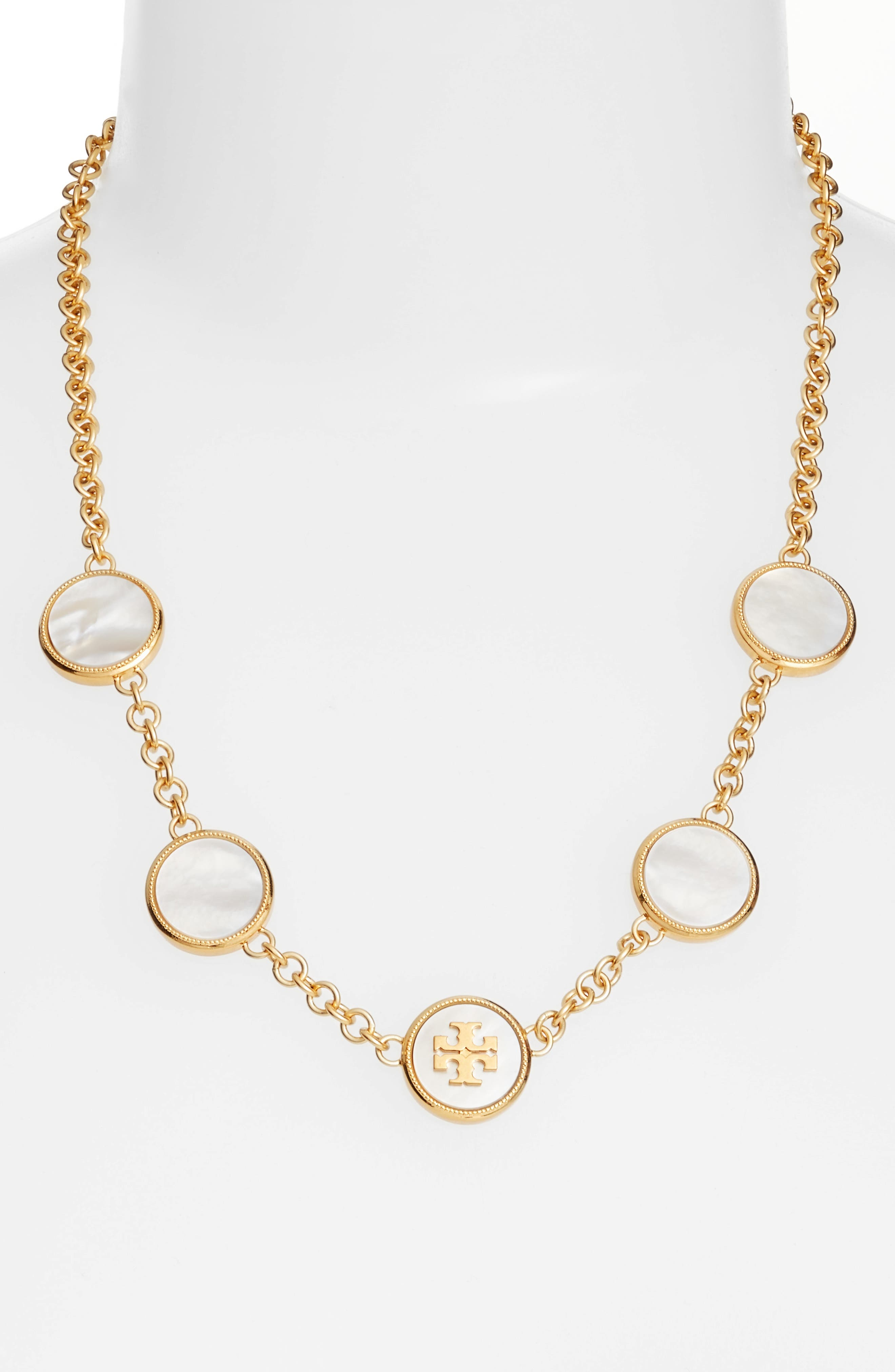 Mother-of-Pearl Station Necklace,                         Main,                         color,