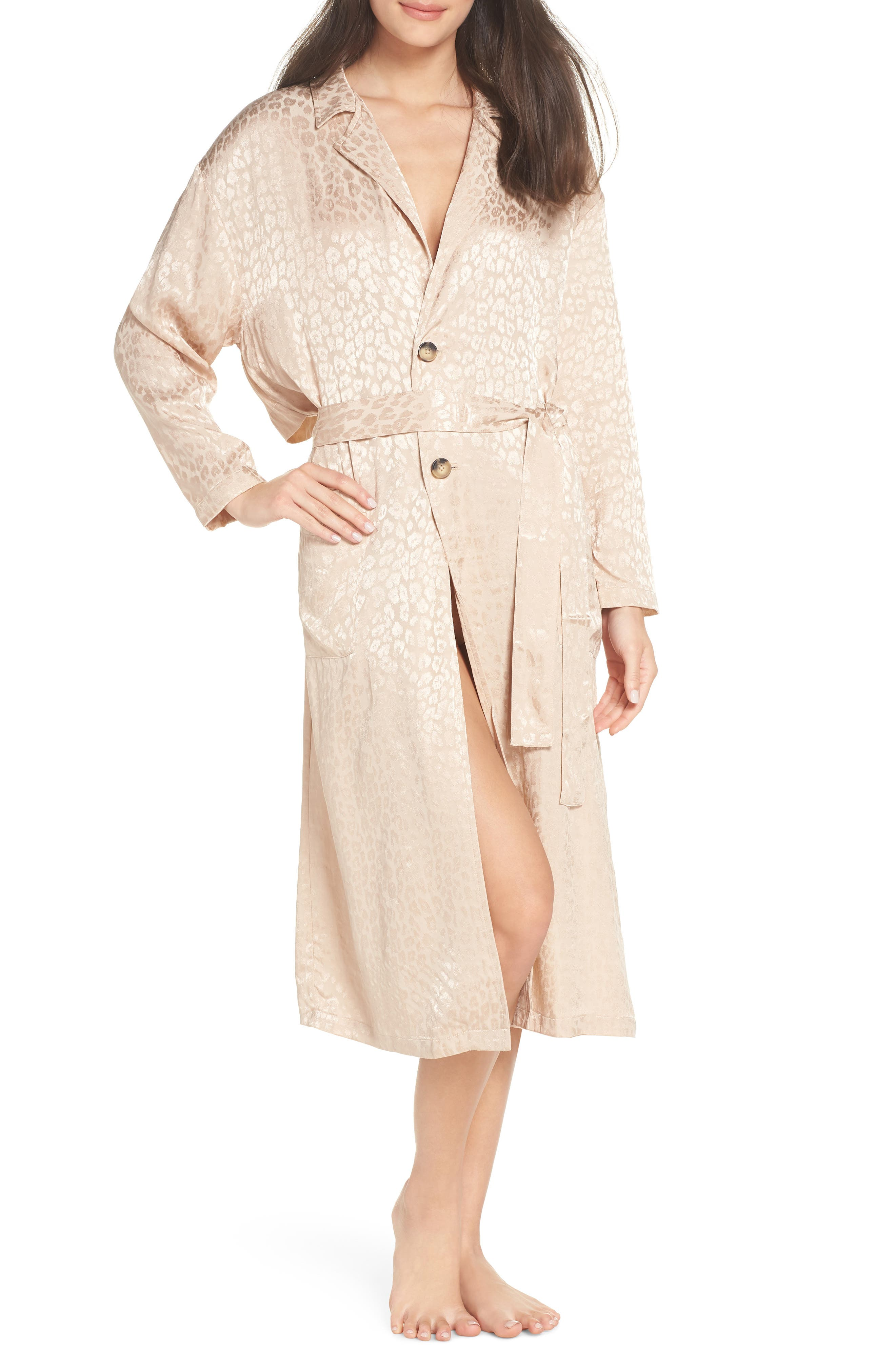 Ragdall Leopard Trench Robe,                             Main thumbnail 1, color,                             NUDE
