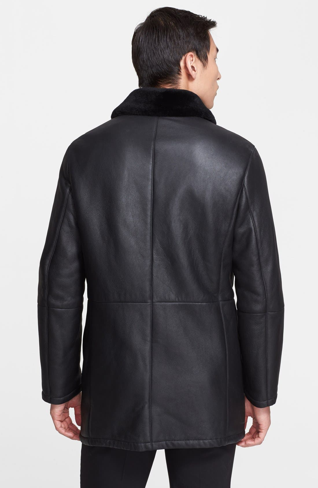 Leather & Genuine Shearling Coat with Gancini Closure,                             Alternate thumbnail 3, color,                             006