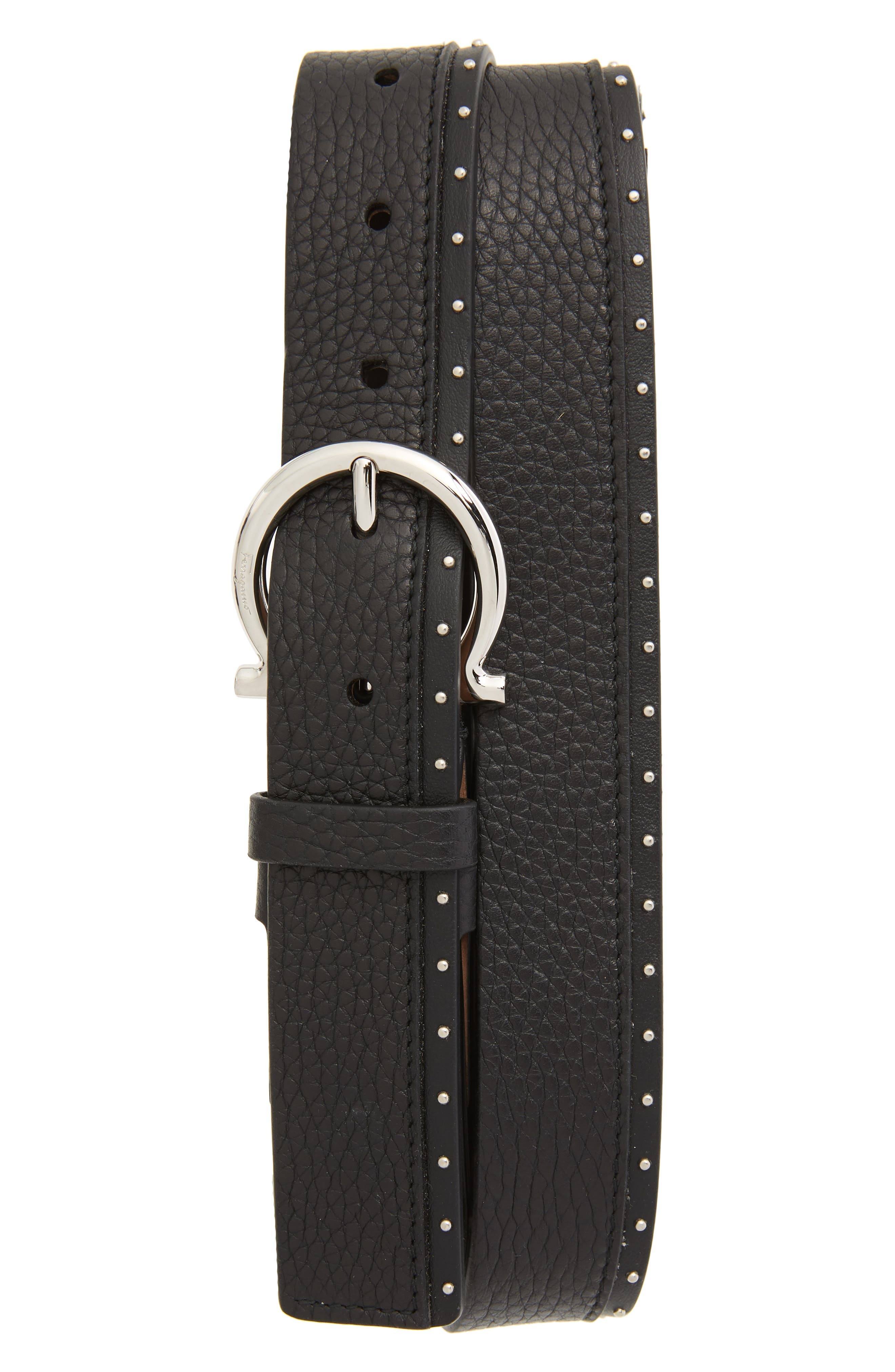 Studded Leather Belt,                         Main,                         color, NERO