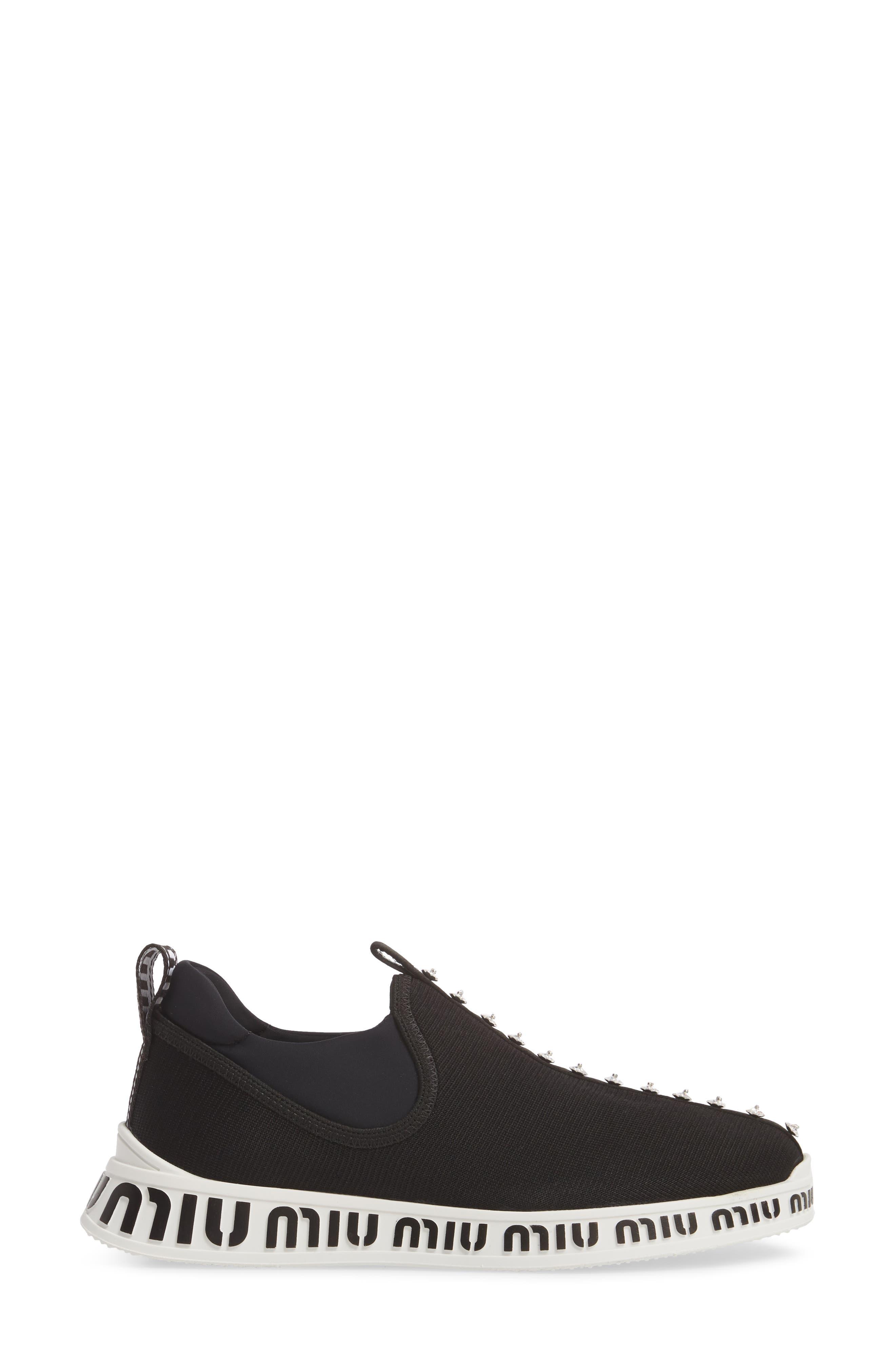 Logo Slip-On Sneaker,                             Alternate thumbnail 3, color,                             BLACK