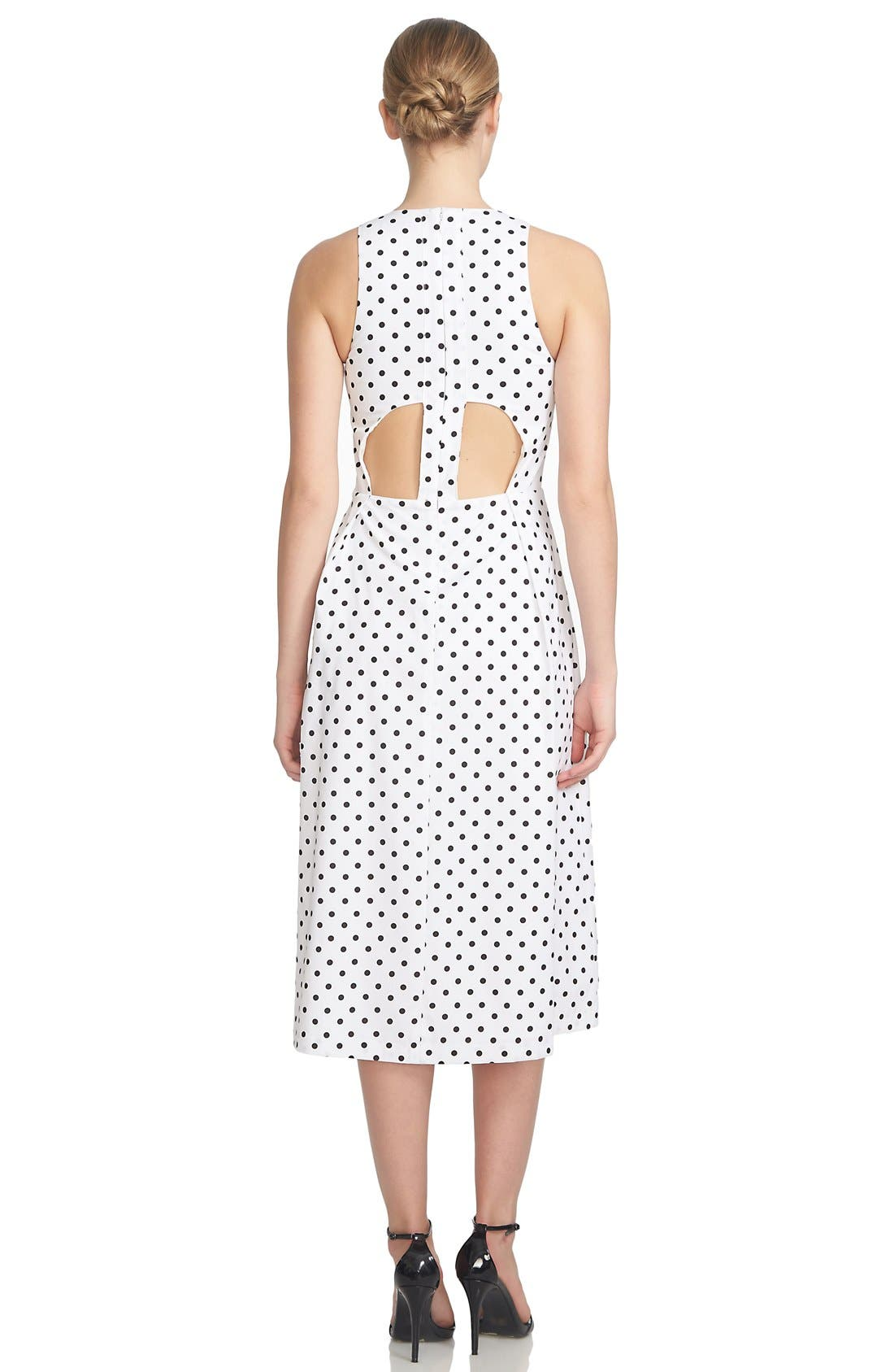 1.STATE,                             Polka Dot Cutout Fit & Flare Midi Dress,                             Alternate thumbnail 2, color,                             909