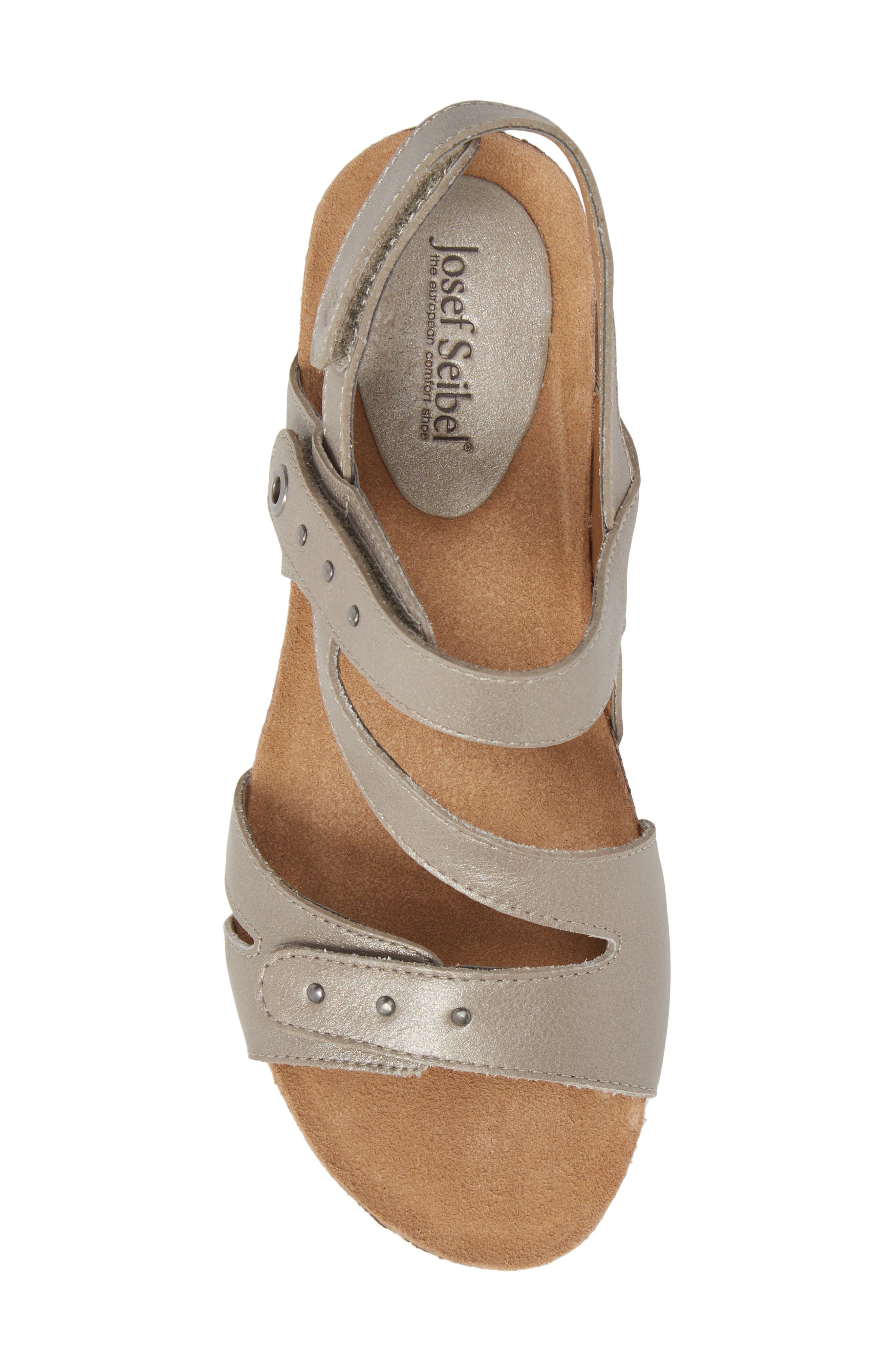 Hailey 33 Sandal,                             Alternate thumbnail 5, color,                             PLATINUM LEATHER