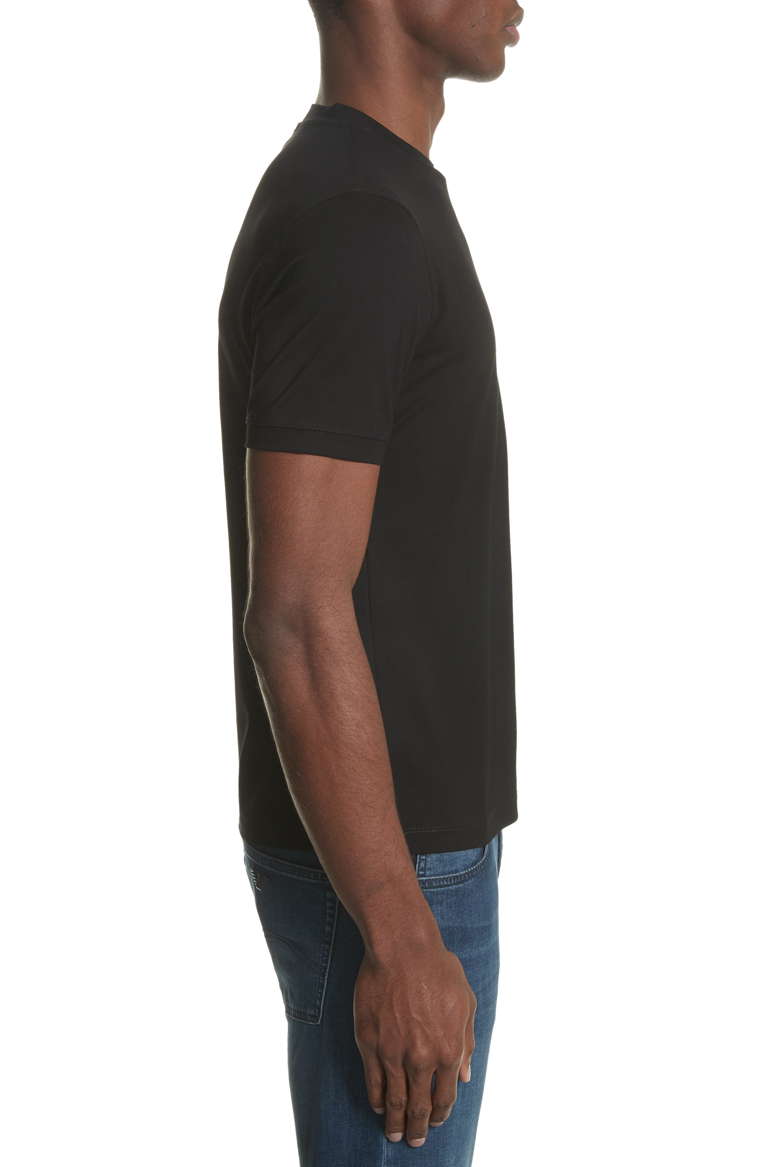 Slim Fit Stretch Crewneck T-Shirt,                             Alternate thumbnail 3, color,                             SOLID BLACK