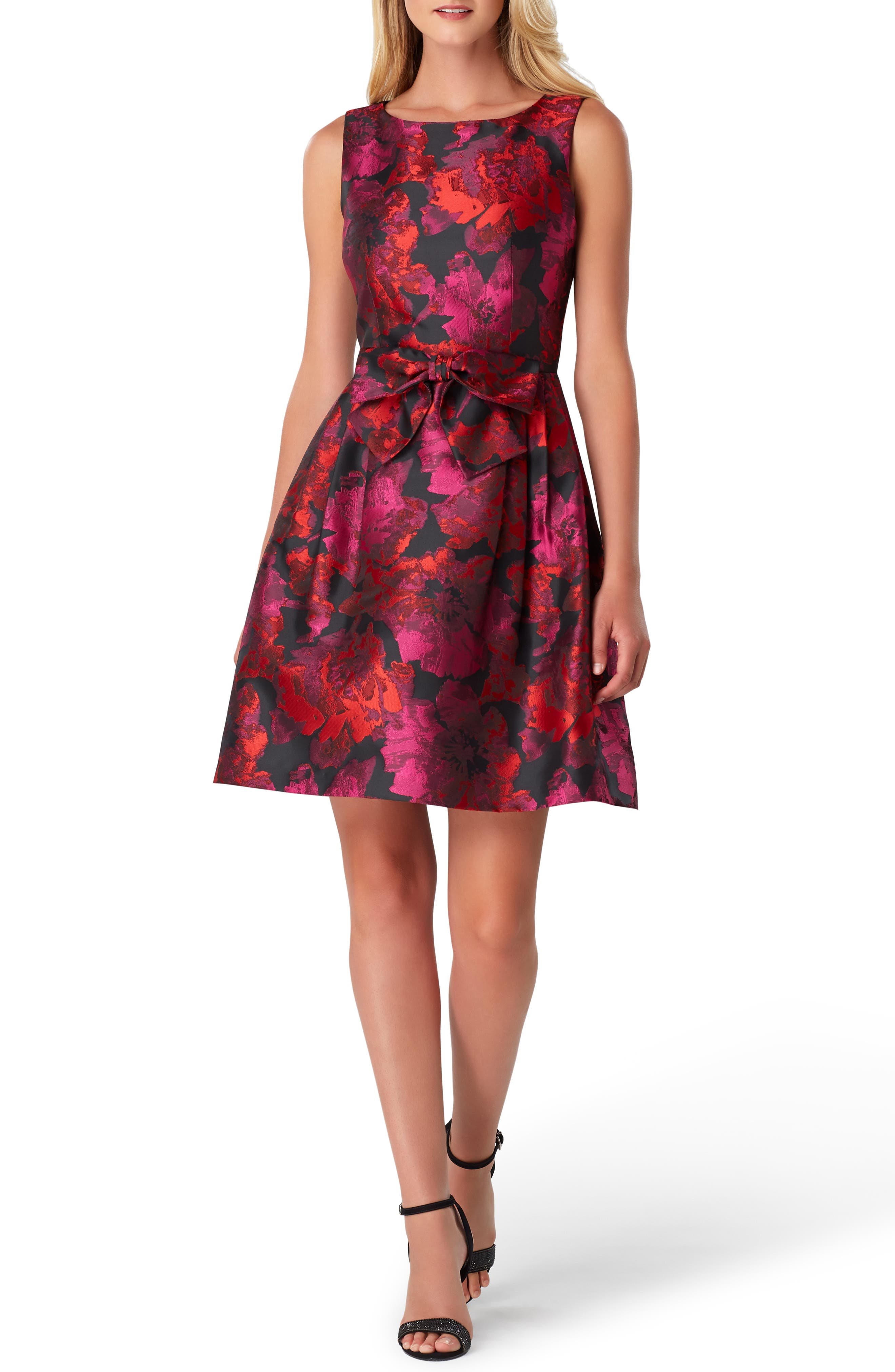 Sleeveless Jacquard Fit & Flare Dress,                         Main,                         color, BLACK/ MAGENTA/ RED