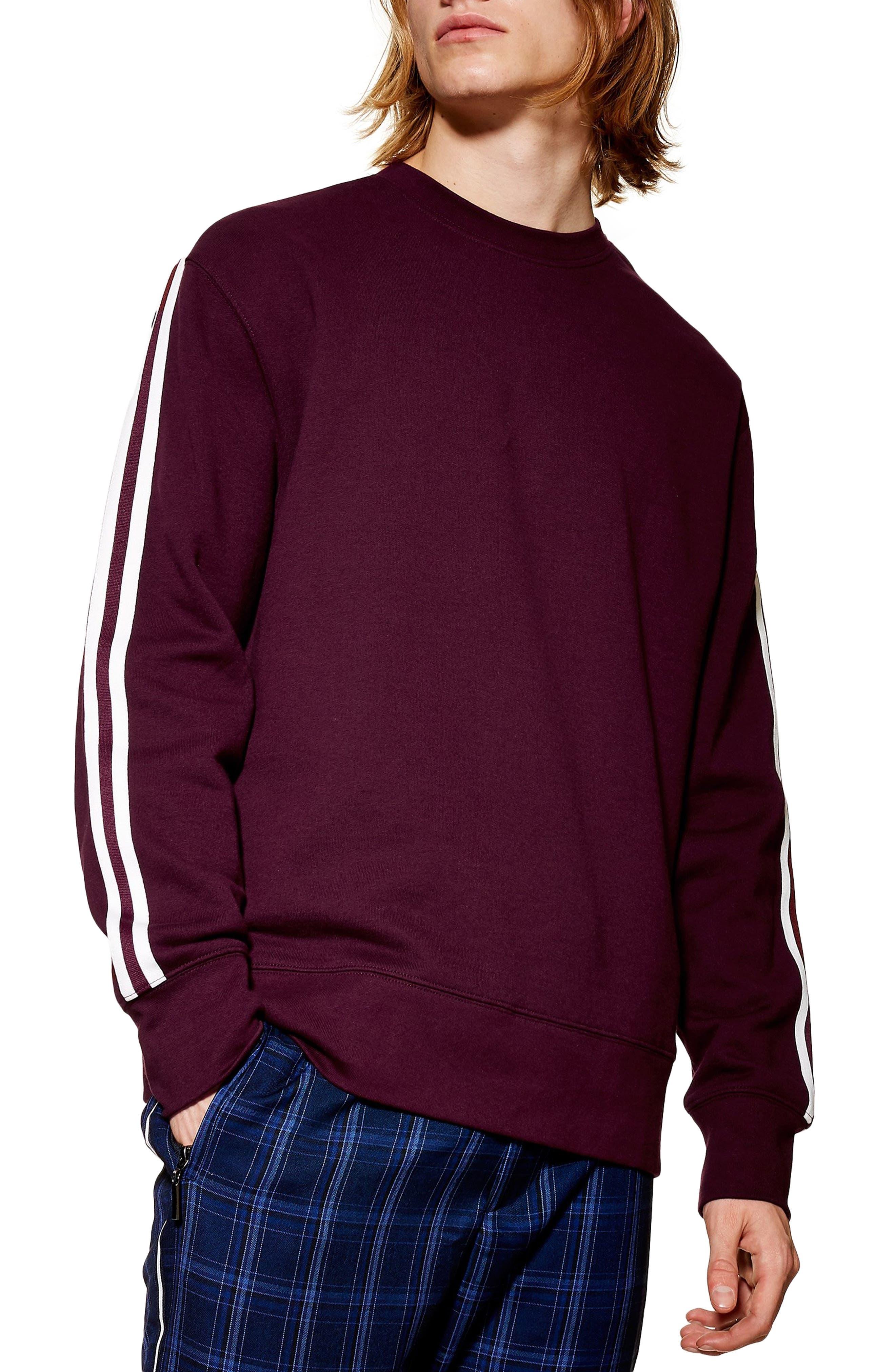 Topman Tape Crewneck Sweatshirt, Burgundy