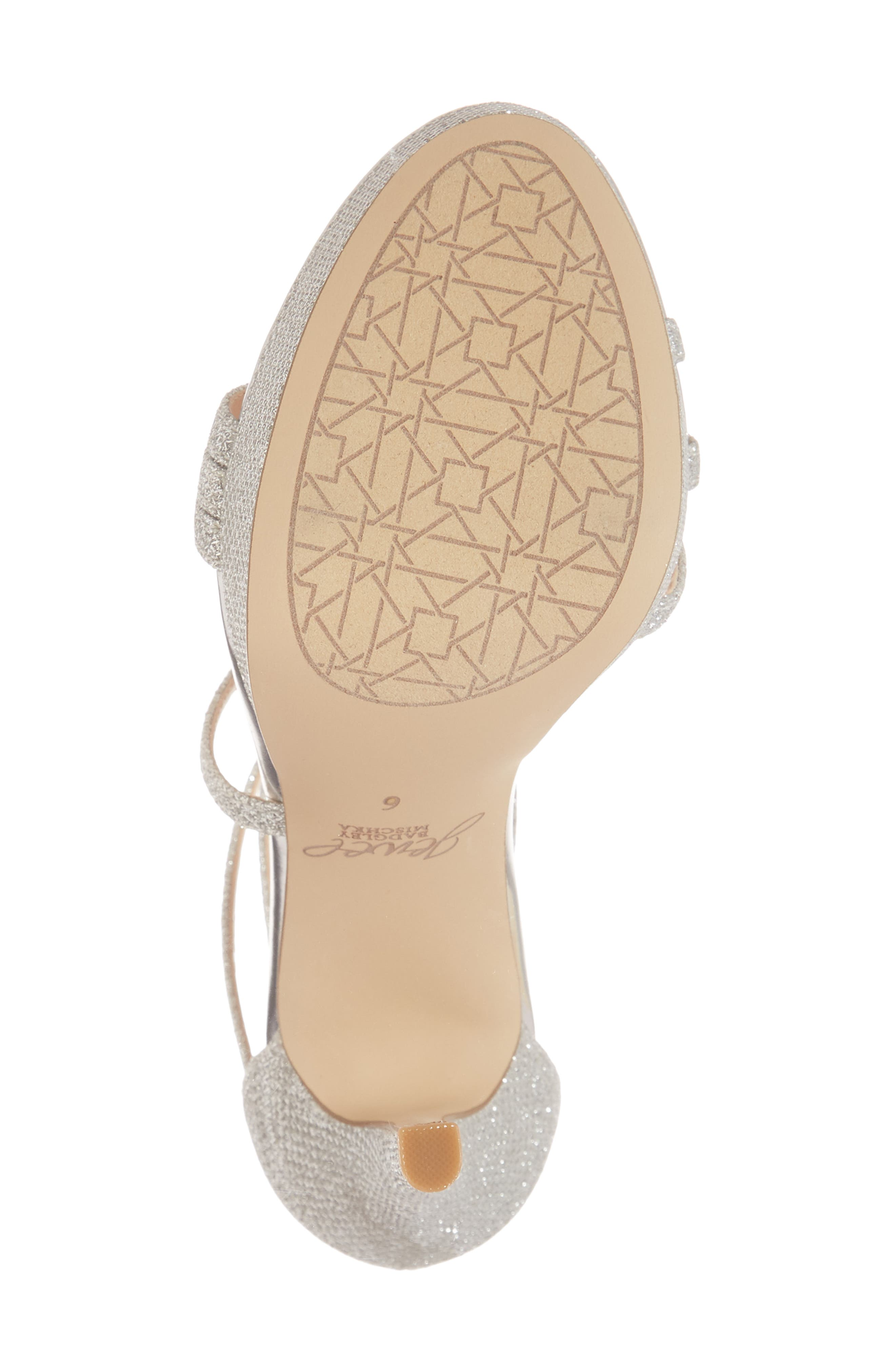 Maeva Platform Sandal,                             Alternate thumbnail 6, color,                             SILVER GLITTER FABRIC