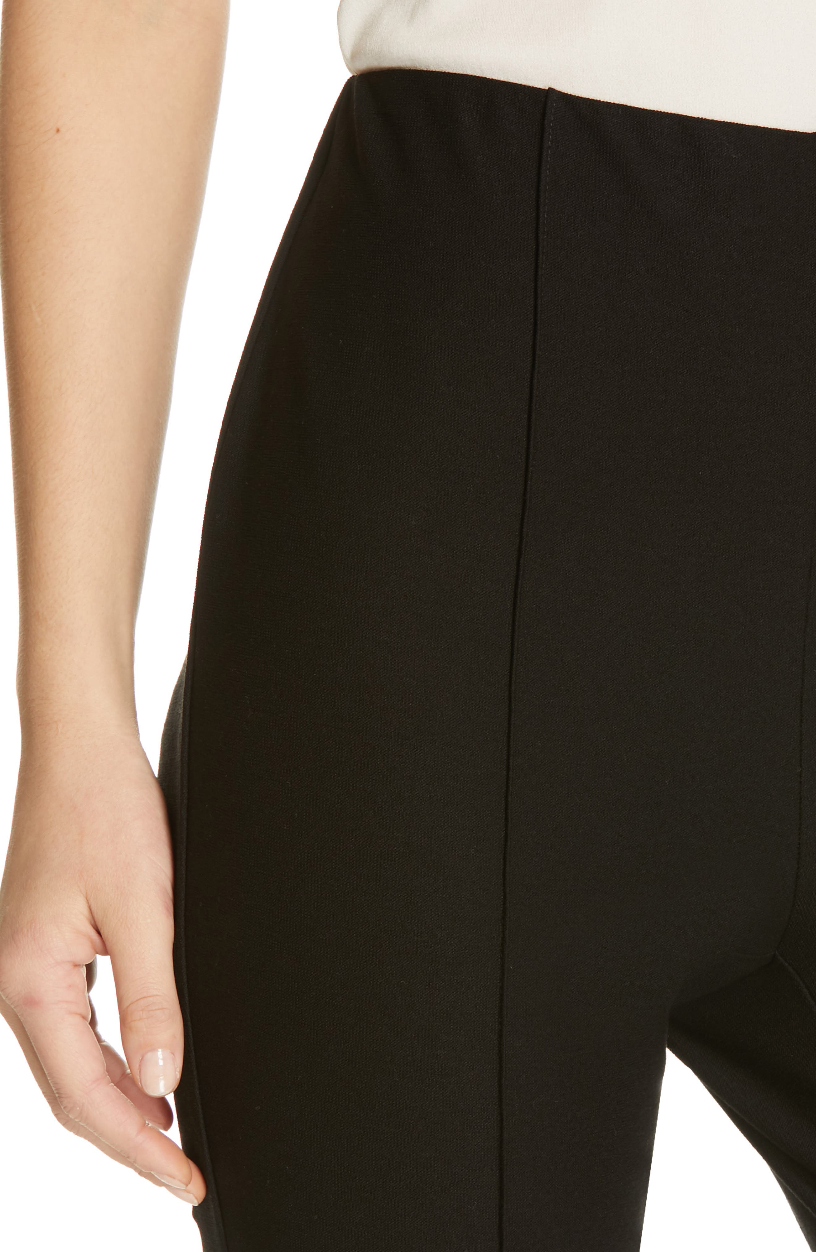 High Waist Slim Ankle Pants,                             Alternate thumbnail 4, color,                             BLACK