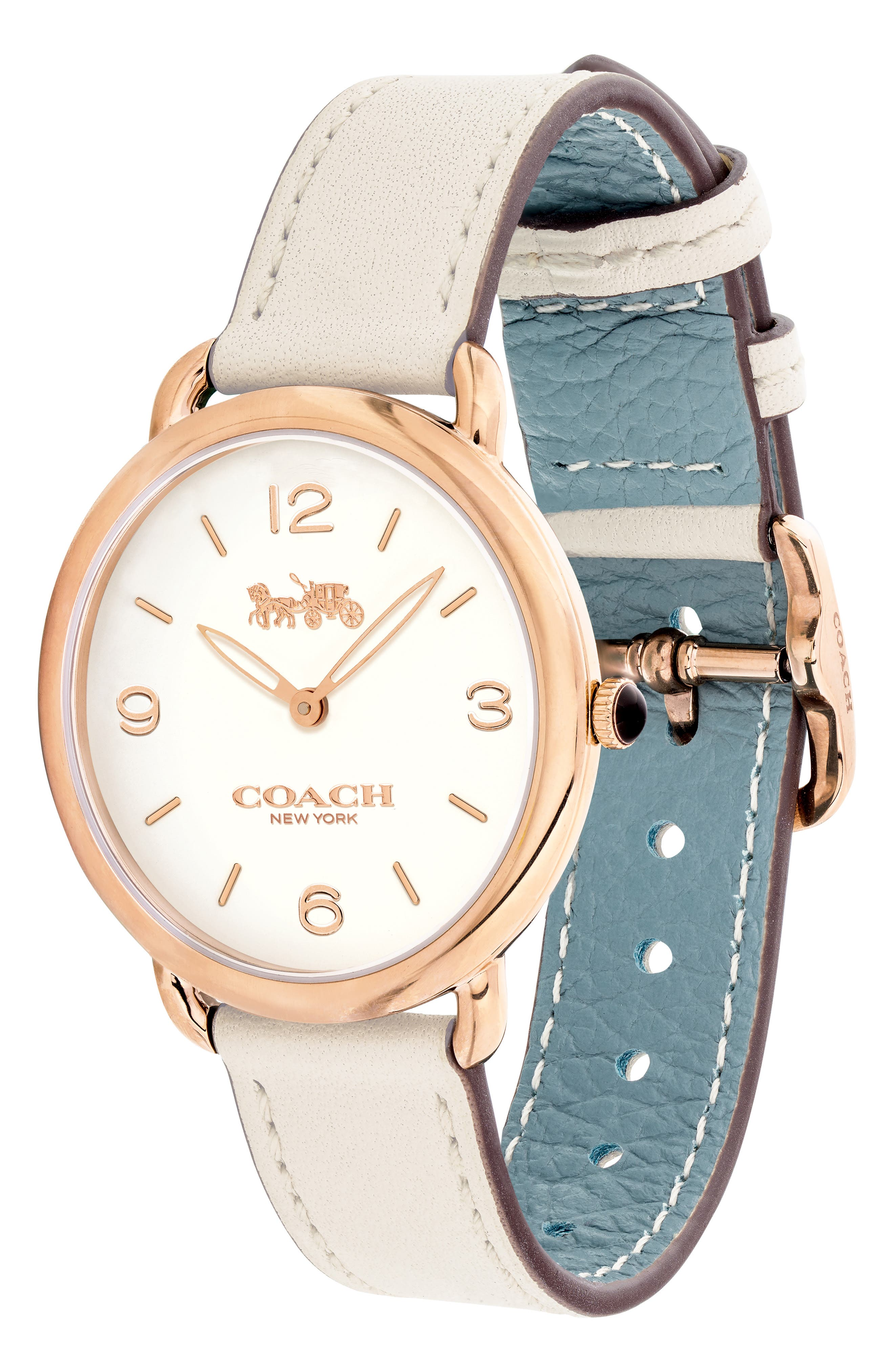 Delancey Slim Leather Strap Watch, 36mm,                             Alternate thumbnail 3, color,                             WHITE/ ROSE GOLD