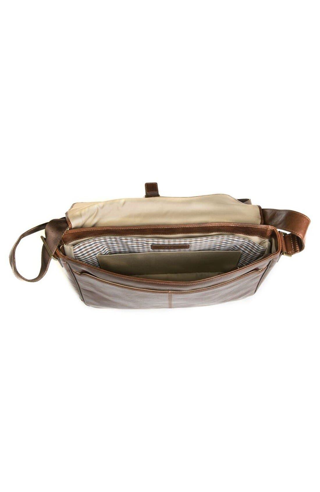 BOCONI,                             'Becker' Leather Messenger Bag,                             Alternate thumbnail 3, color,                             WHISKEY