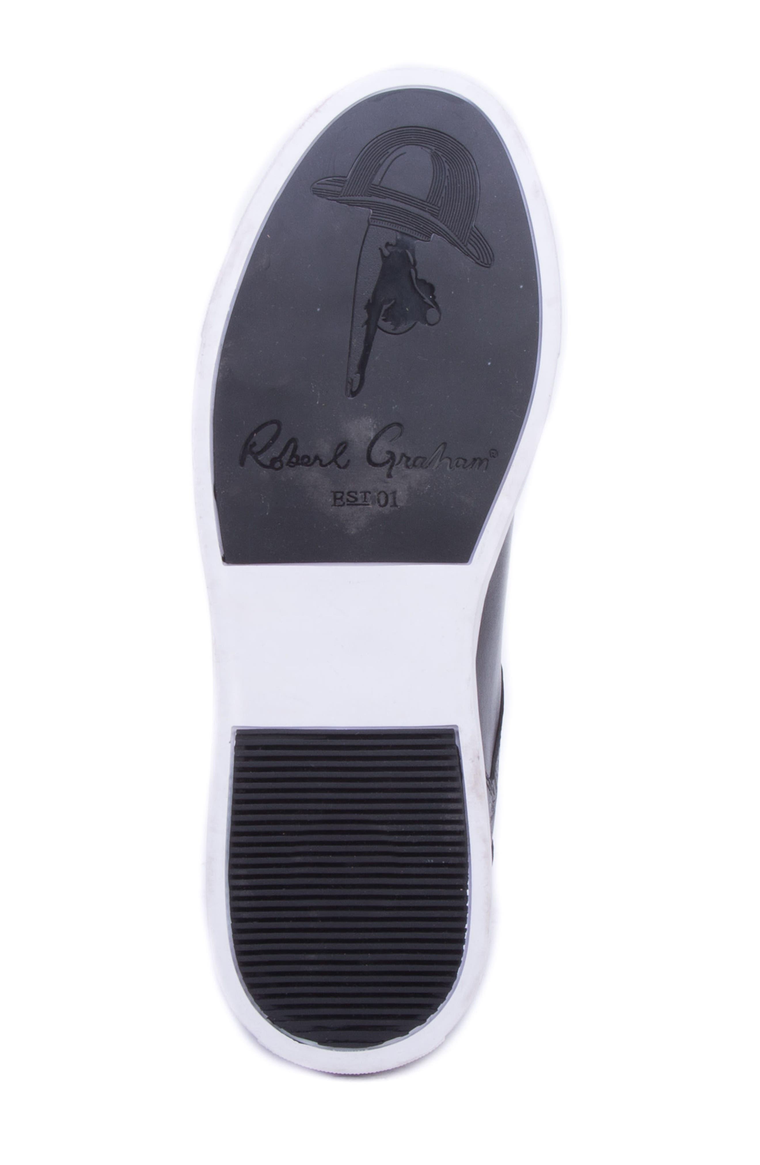 Sanderson Embossed Sneaker,                             Alternate thumbnail 6, color,                             BLACK LEATHER