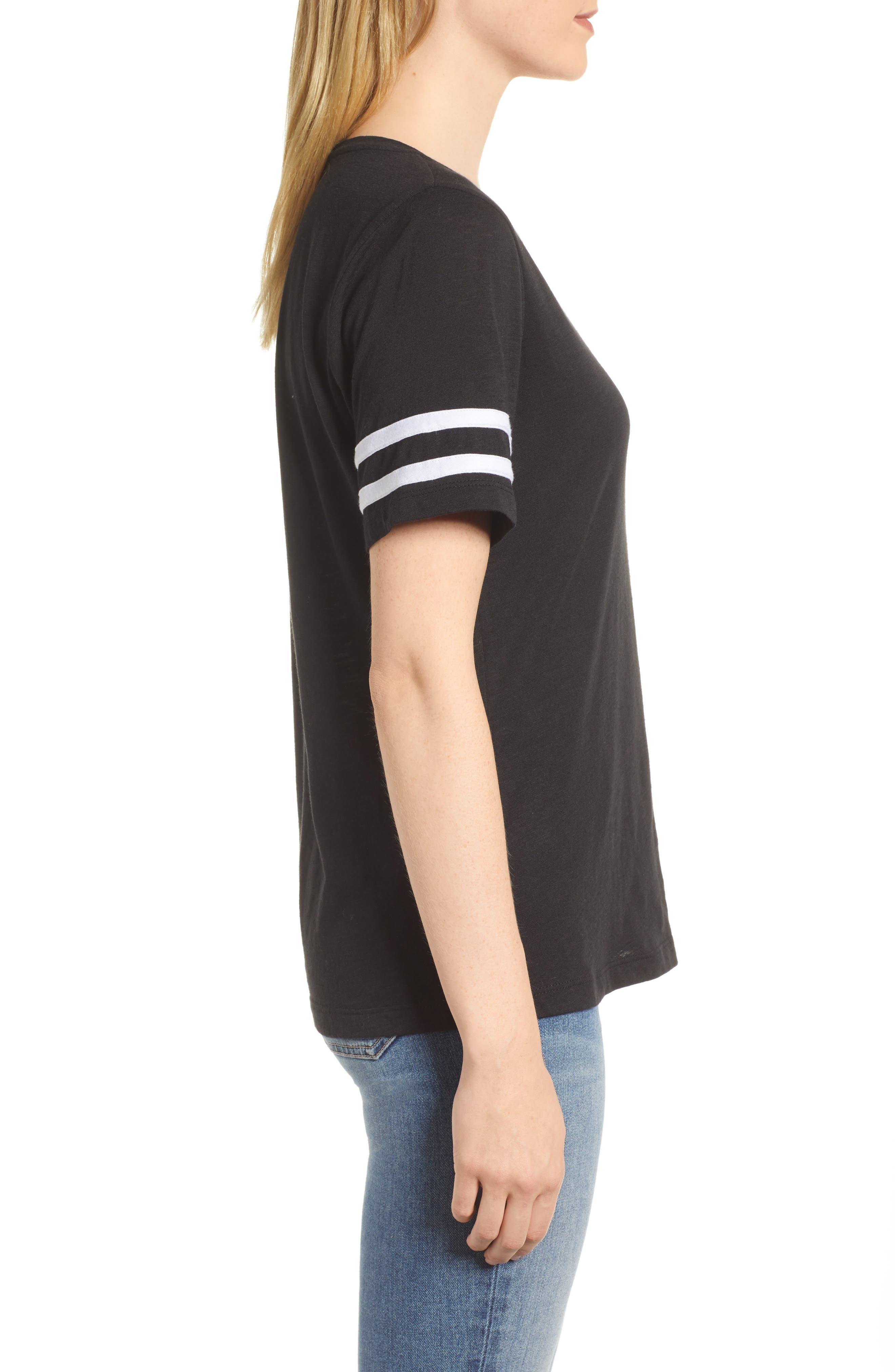 Stripe Sleeve Cotton Blend Athletic Tee,                             Alternate thumbnail 10, color,