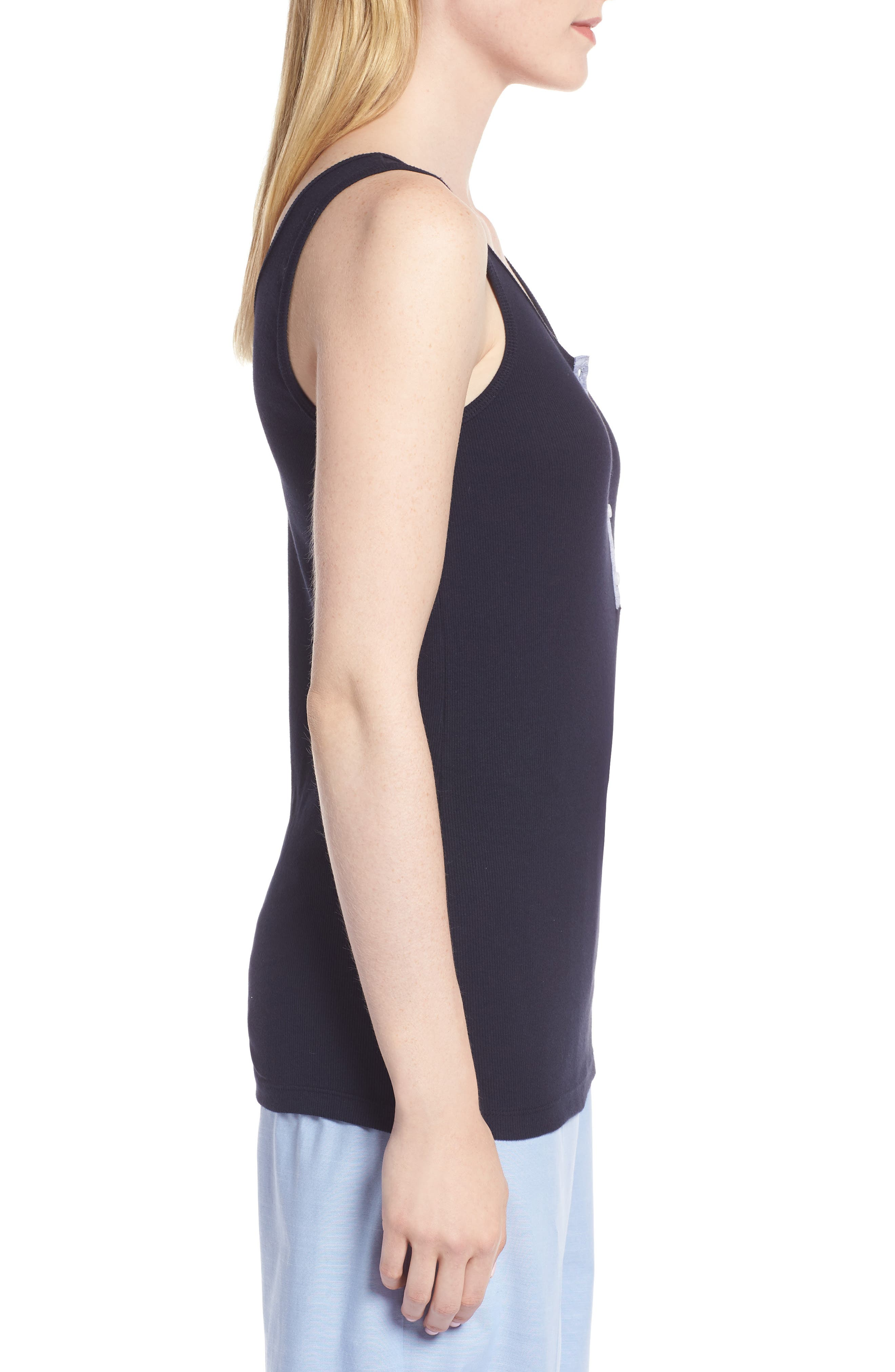 Ribbed Henley Cotton Blend Tank Top,                             Alternate thumbnail 6, color,