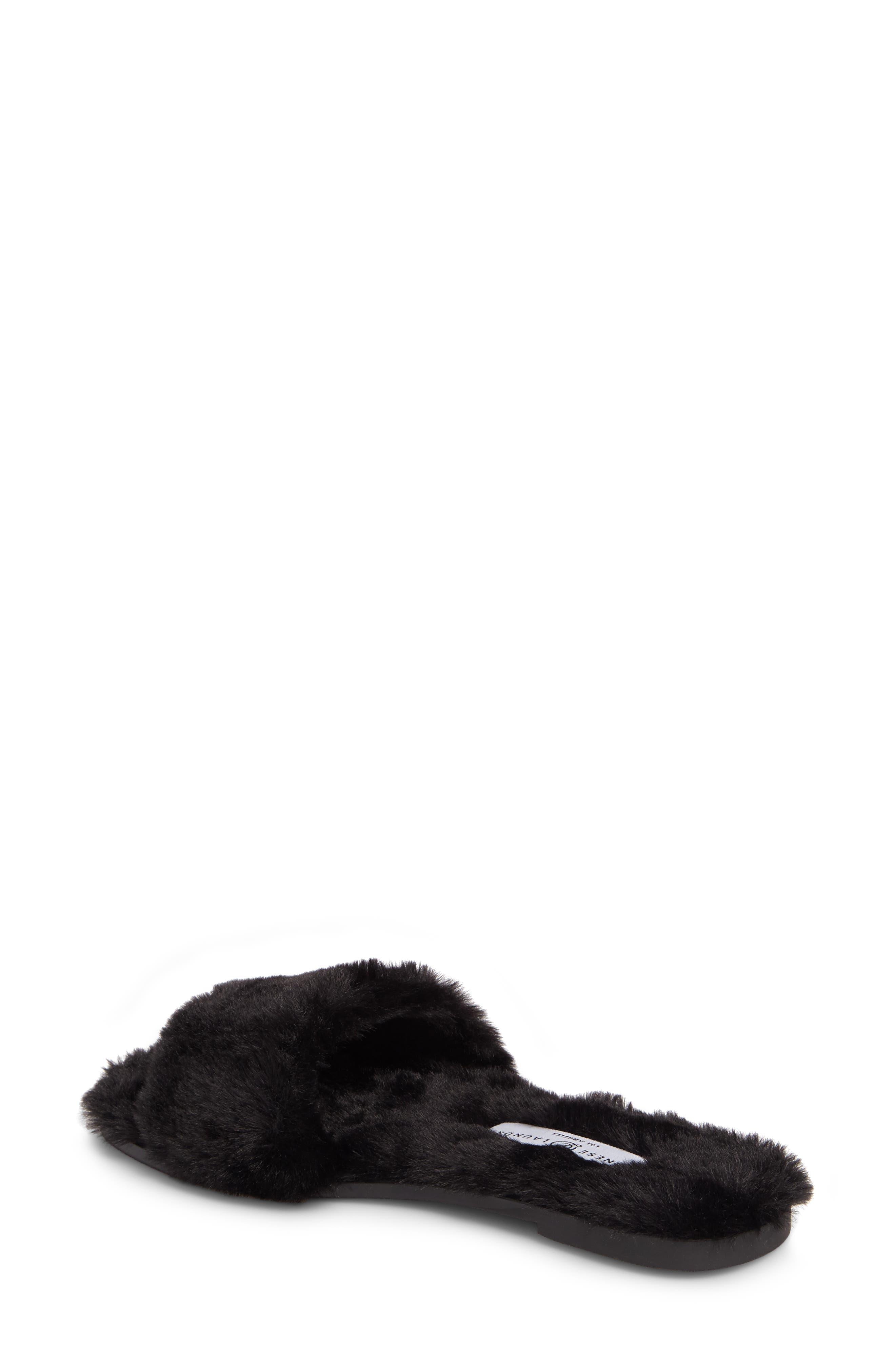 Mulholland Faux Fur Slide Sandal,                             Alternate thumbnail 2, color,                             001