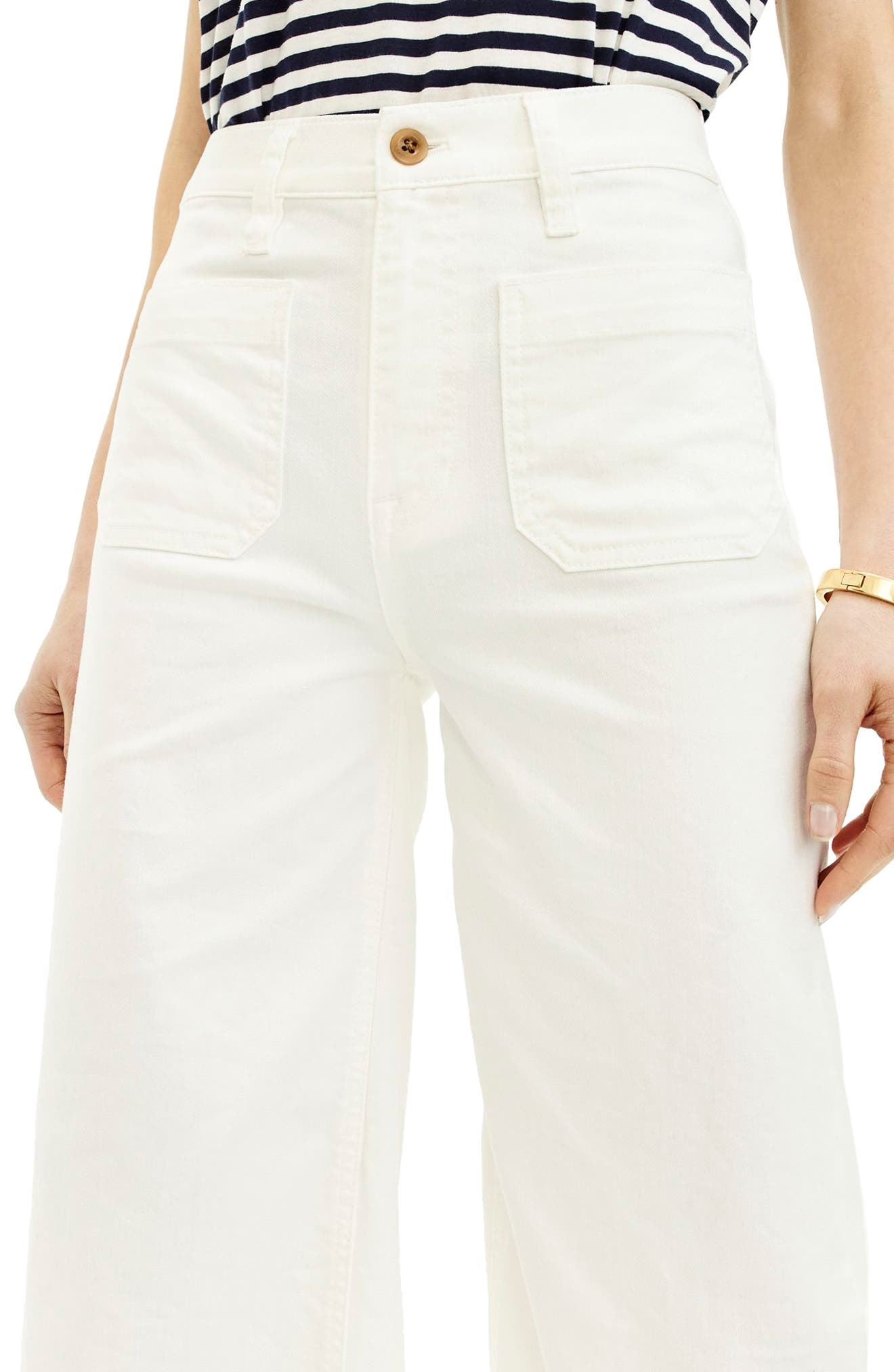 Point Sur Wide Leg Crop Jeans,                             Alternate thumbnail 3, color,                             100