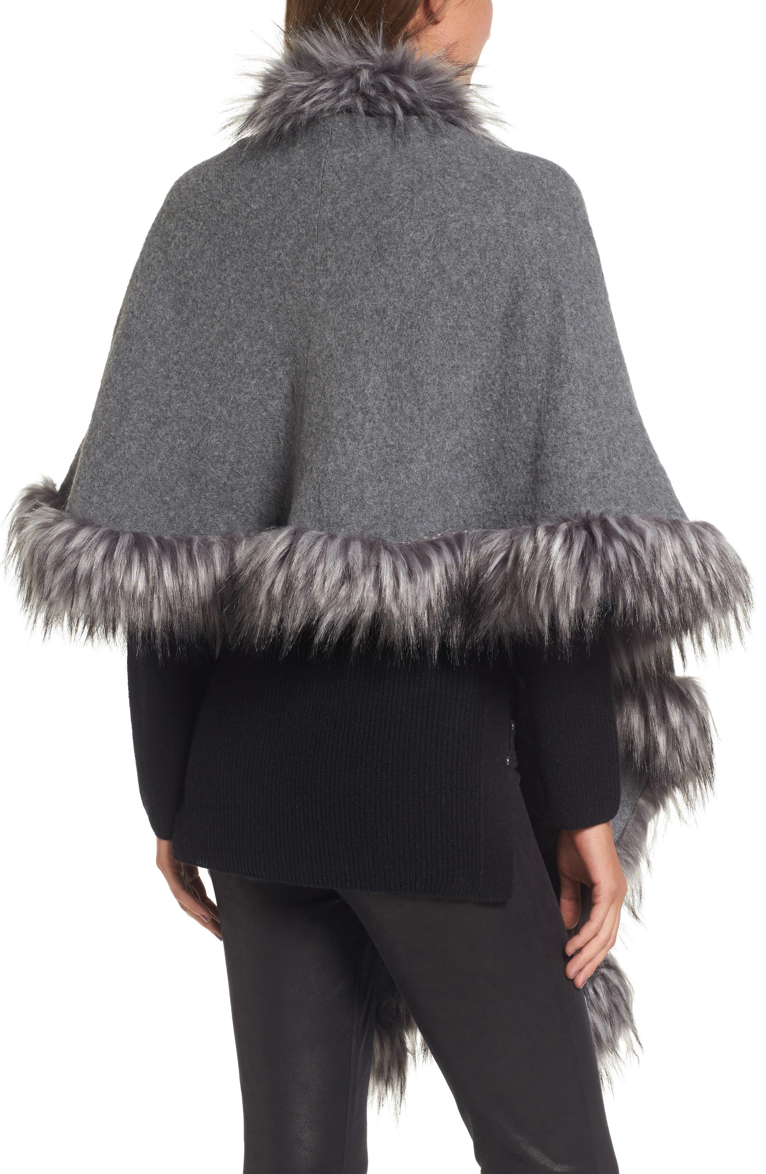 Knit Poncho with Faux Fur Trim,                             Alternate thumbnail 2, color,                             030