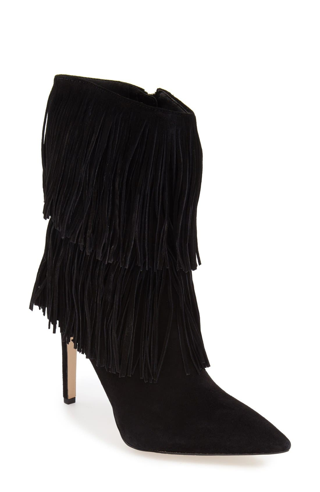'Belinda' Fringed Suede Pointy Toe Boot,                             Main thumbnail 1, color,                             002