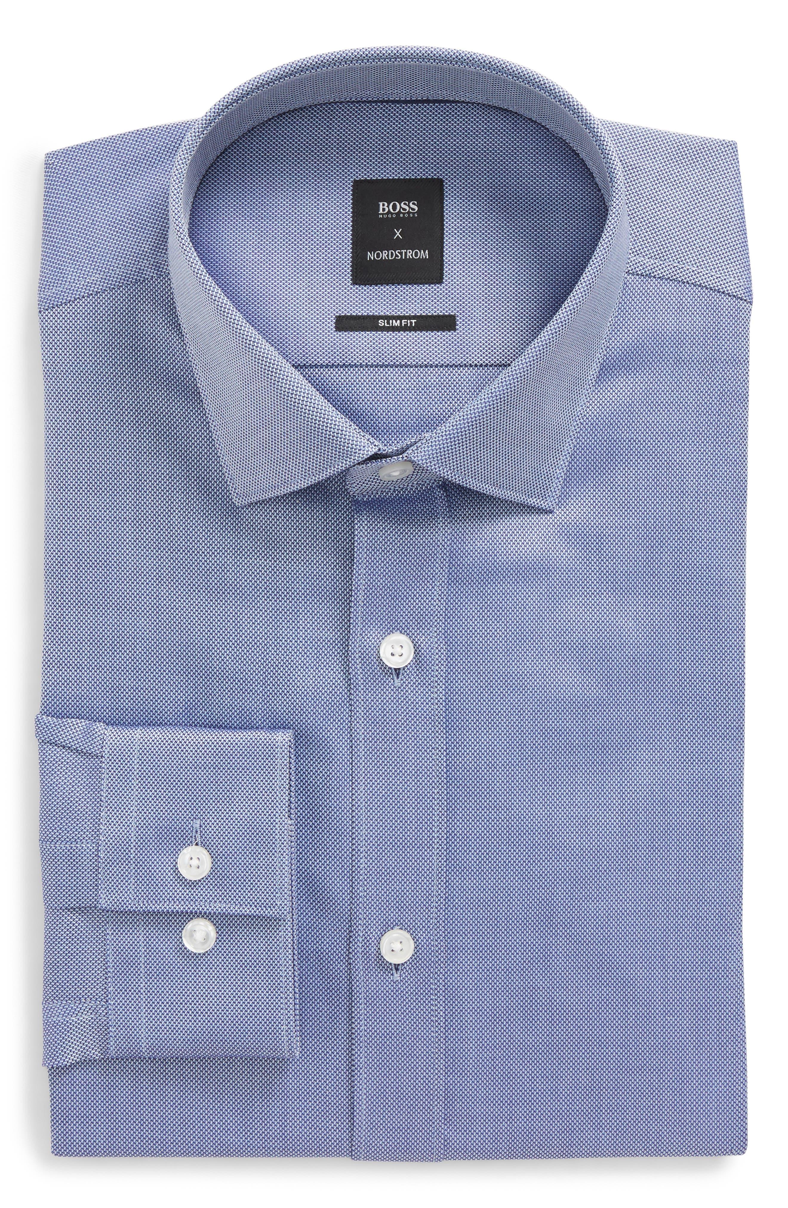 Nordstrom x BOSS Isaak Slim Fit Solid Dress Shirt,                             Main thumbnail 1, color,                             420