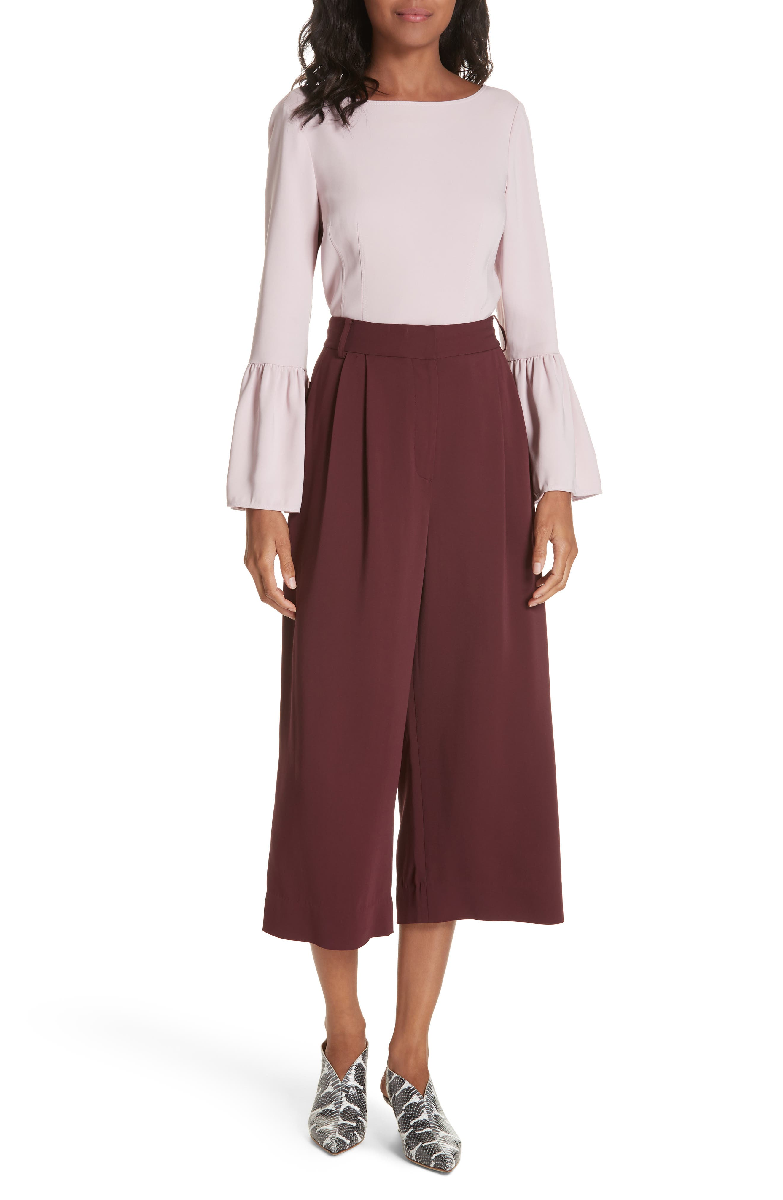 TIBI,                             Stella Stretch Suiting Crop Pants,                             Alternate thumbnail 8, color,                             DARK CURRANT