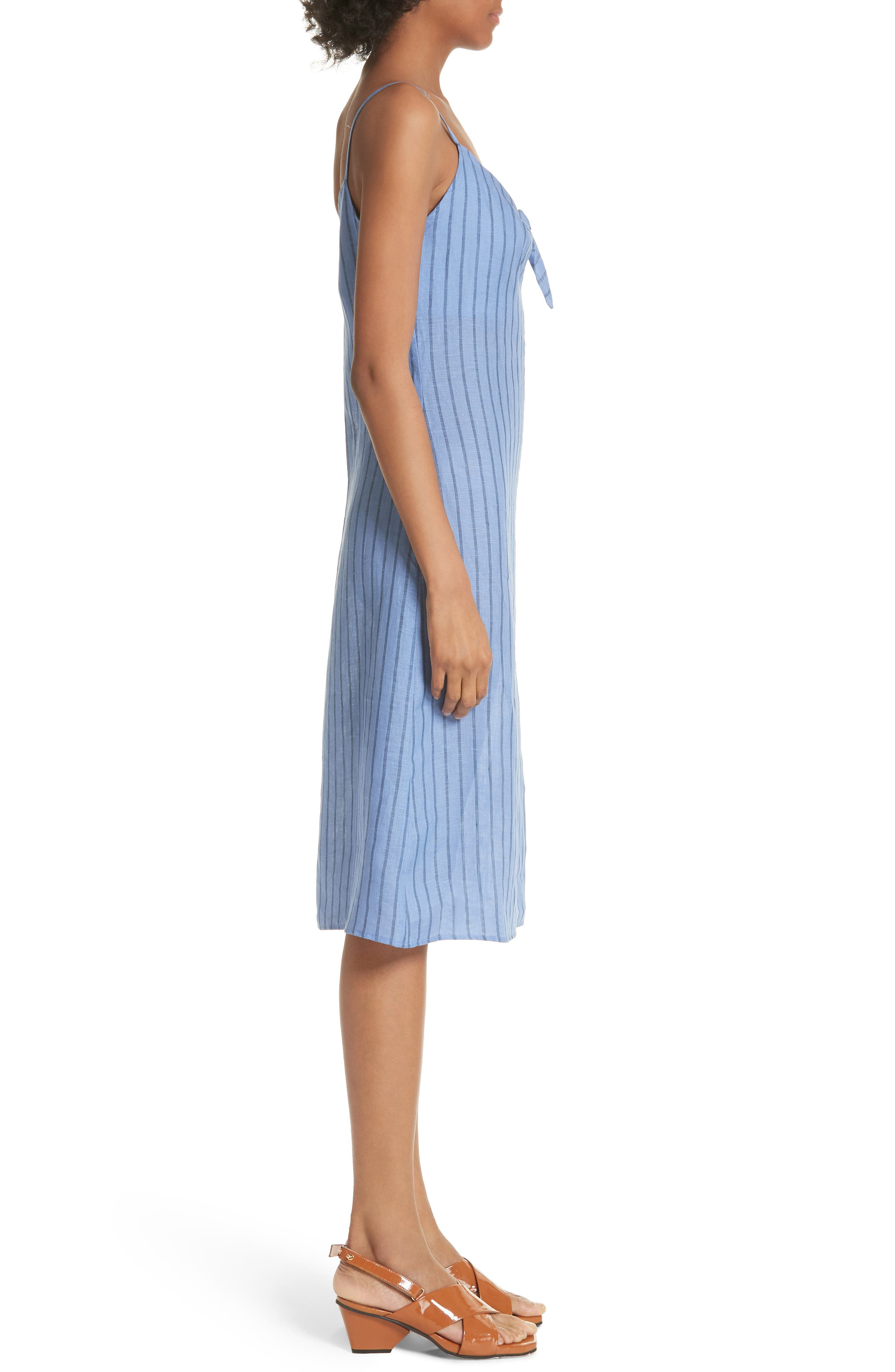 Oriska Stripe Linen Slipdress,                             Alternate thumbnail 3, color,                             400